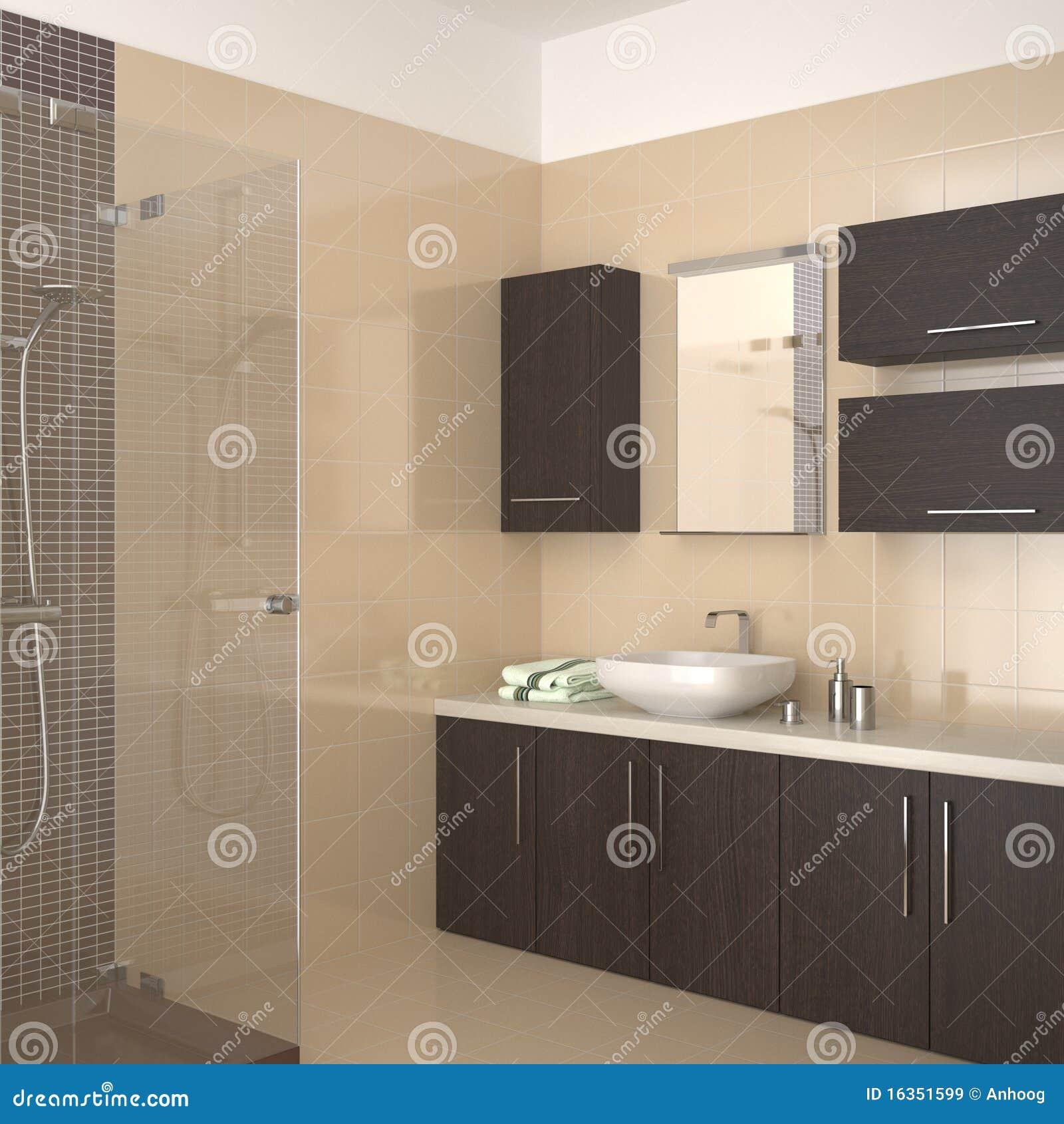 Banheiro Moderno Com Equipamento De Madeira Escuro Imagens de Stock Royalty F -> Banheiro Moderno Madeira