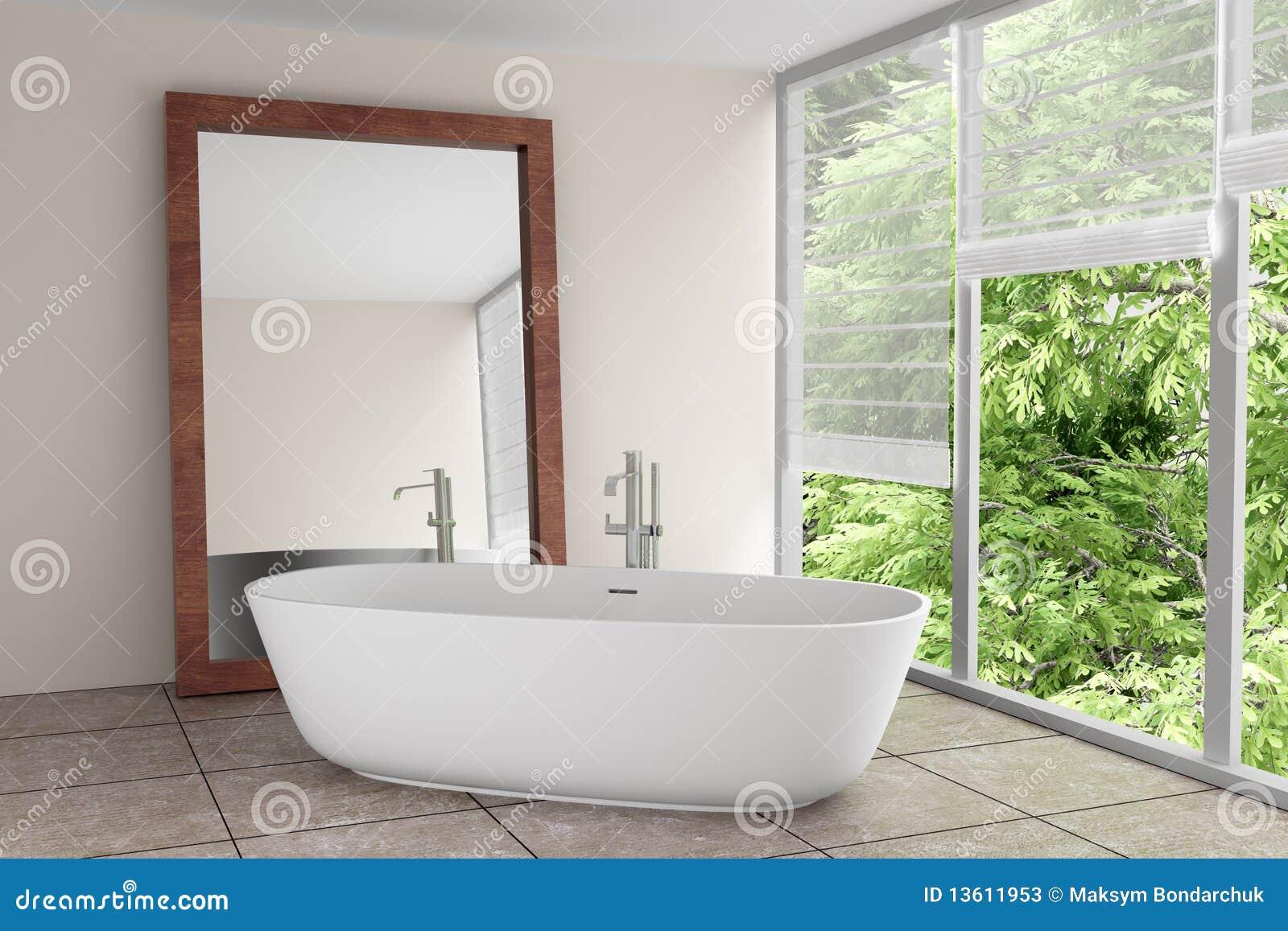 Fotos de Stock: Banheiro moderno com grande espelho #769536 1300 957