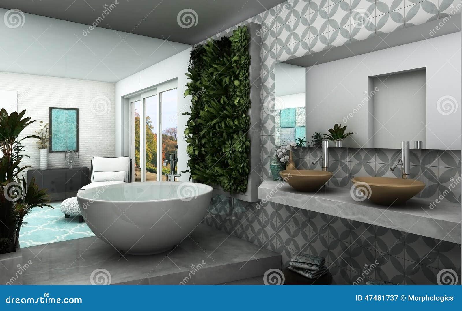moderno rende do banheiro com jardim vertical e impressão oriental #82A328 1300x893 Banheiro Com Jardim Vertical