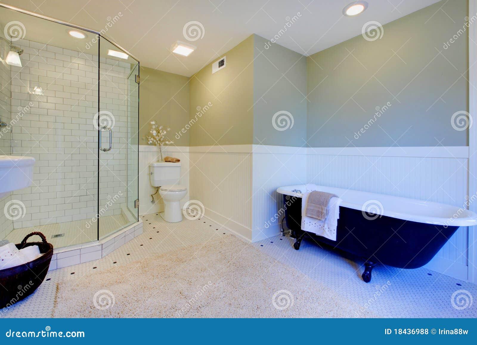 Banheiro Moderno Verde E Branco Fresco Luxuoso Fotos de Stock Royalty  #060625 1300x957 Banheiro Branco Moderno
