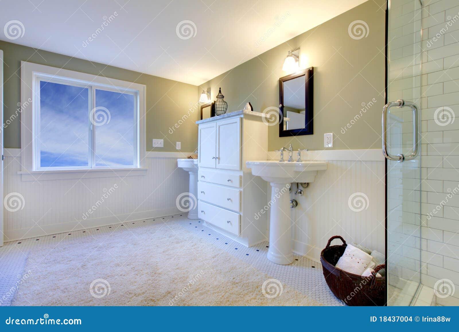 Banheiro Moderno Verde E Branco Fresco Luxuoso Imagens de Stock  Imagem 184 -> Banheiro Moderno Verde