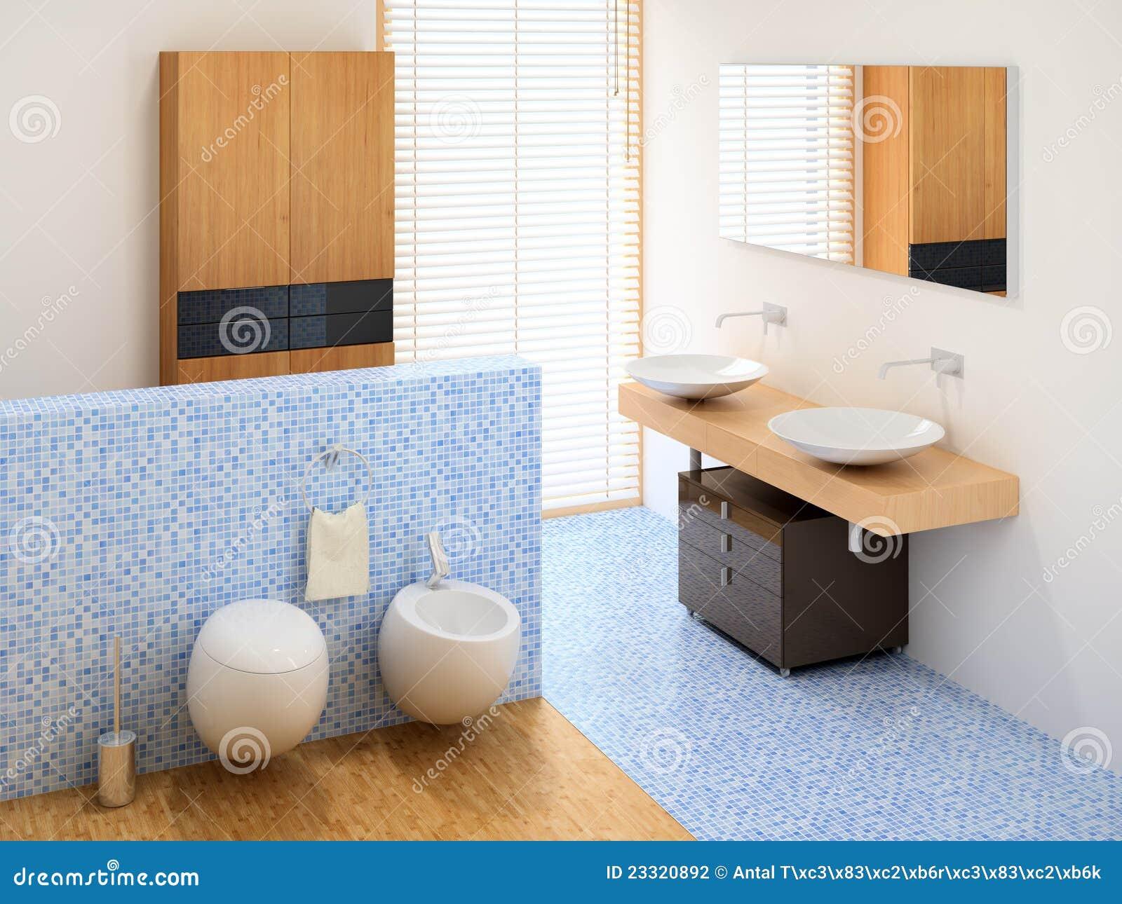 Banheiro moderno pequeno que inclui o wardrobe as bacias e o toalete. #986A33 1300 1065