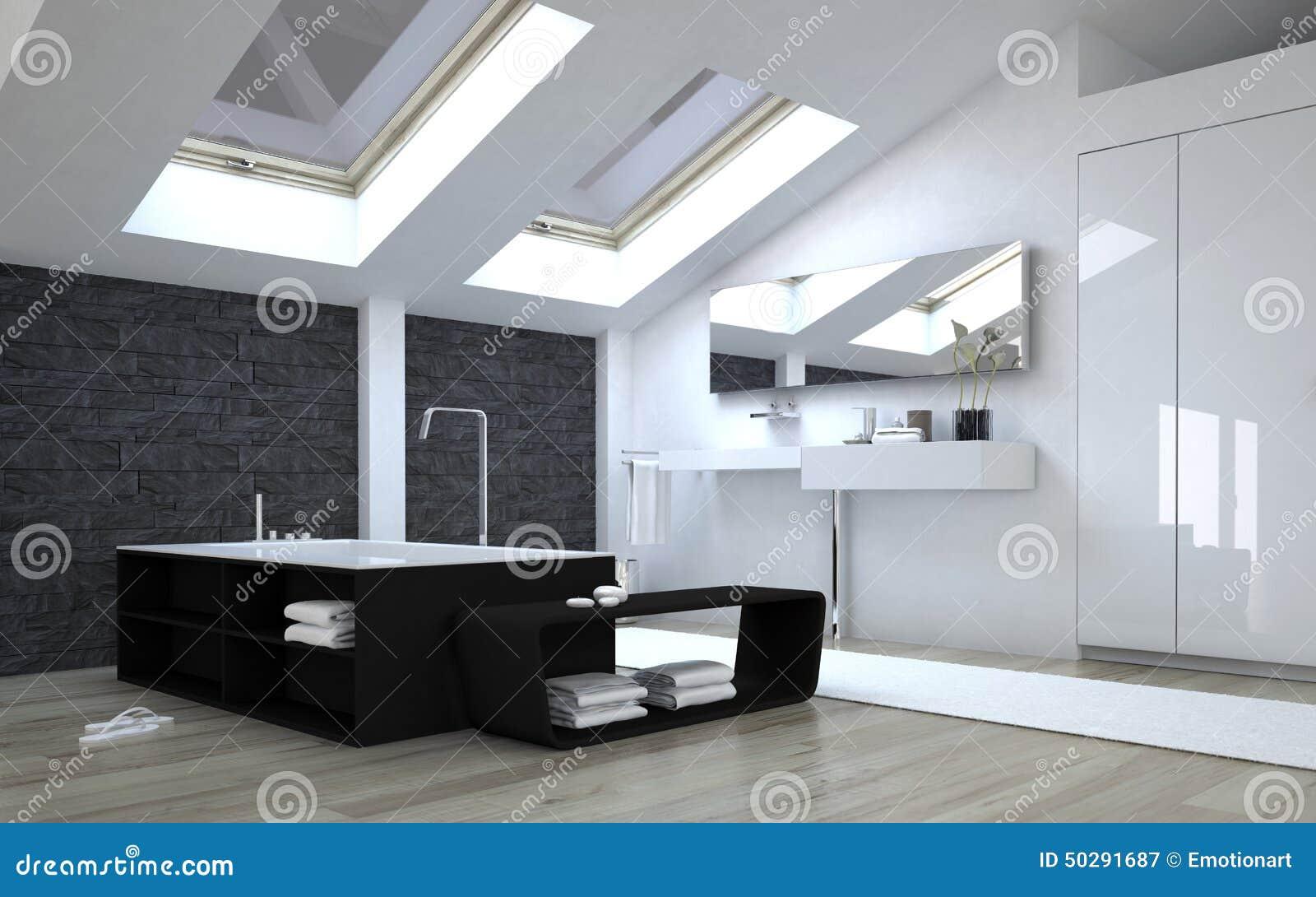 Interior do banheiro preto e branco moderno com Sunny Skylights no  #83A328 1300 903