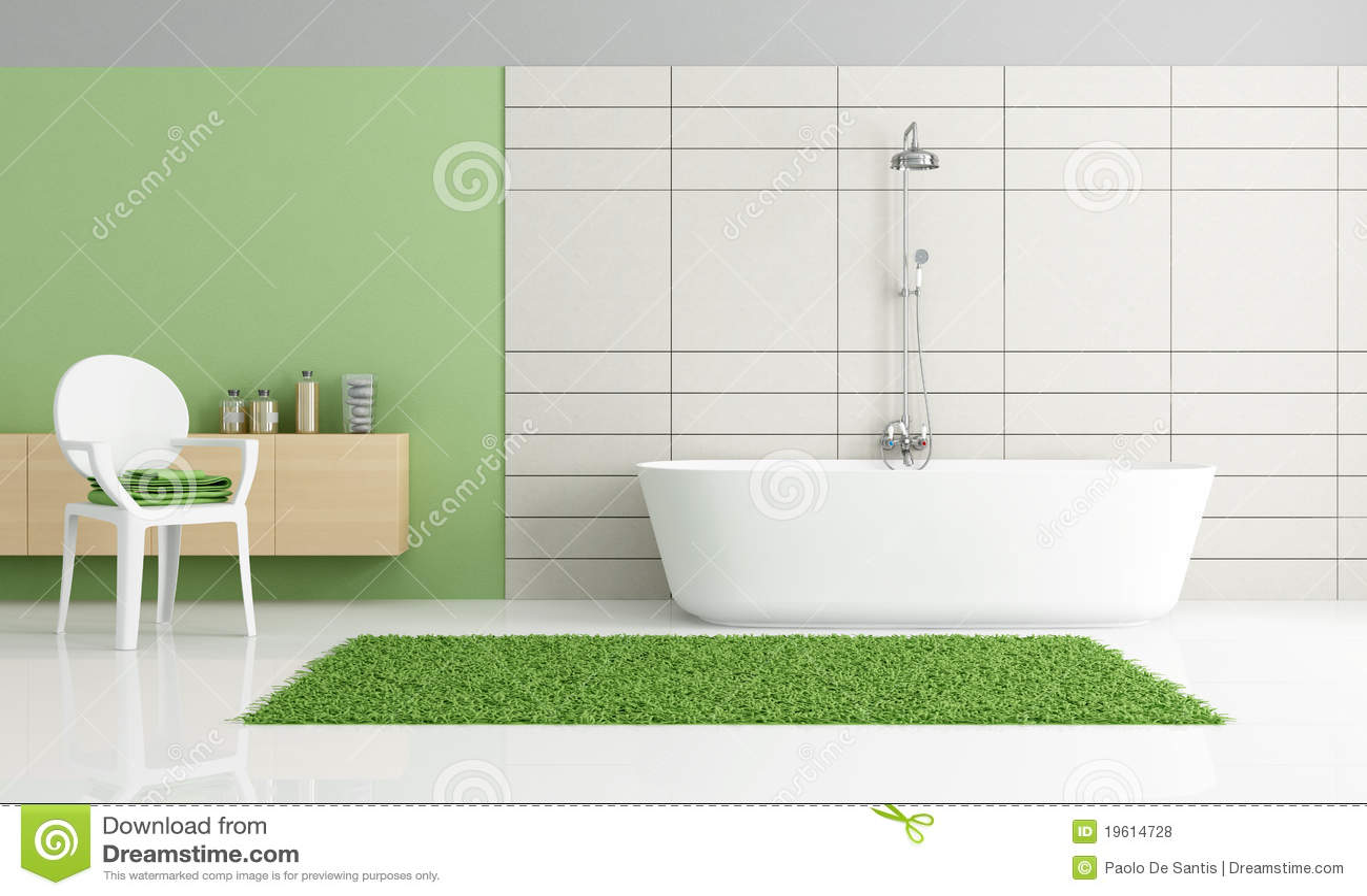 Banheiro Verde E Branco Minimalista Fotos de Stock Royalty Free  #85A823 1300x869 Banheiro Branco Com Box Verde