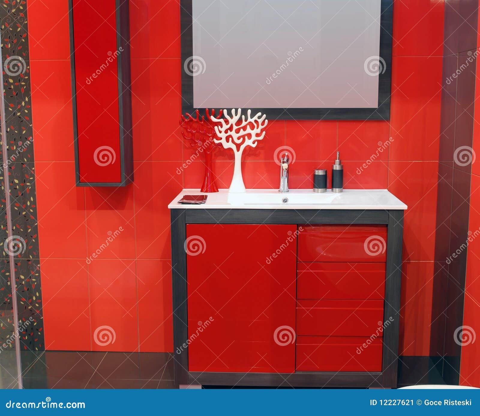 Banheiro Vermelho Imagem de Stock Imagem: 12227621 #B22119 1300x1146 Banheiro Branco Com Detalhe Vermelho