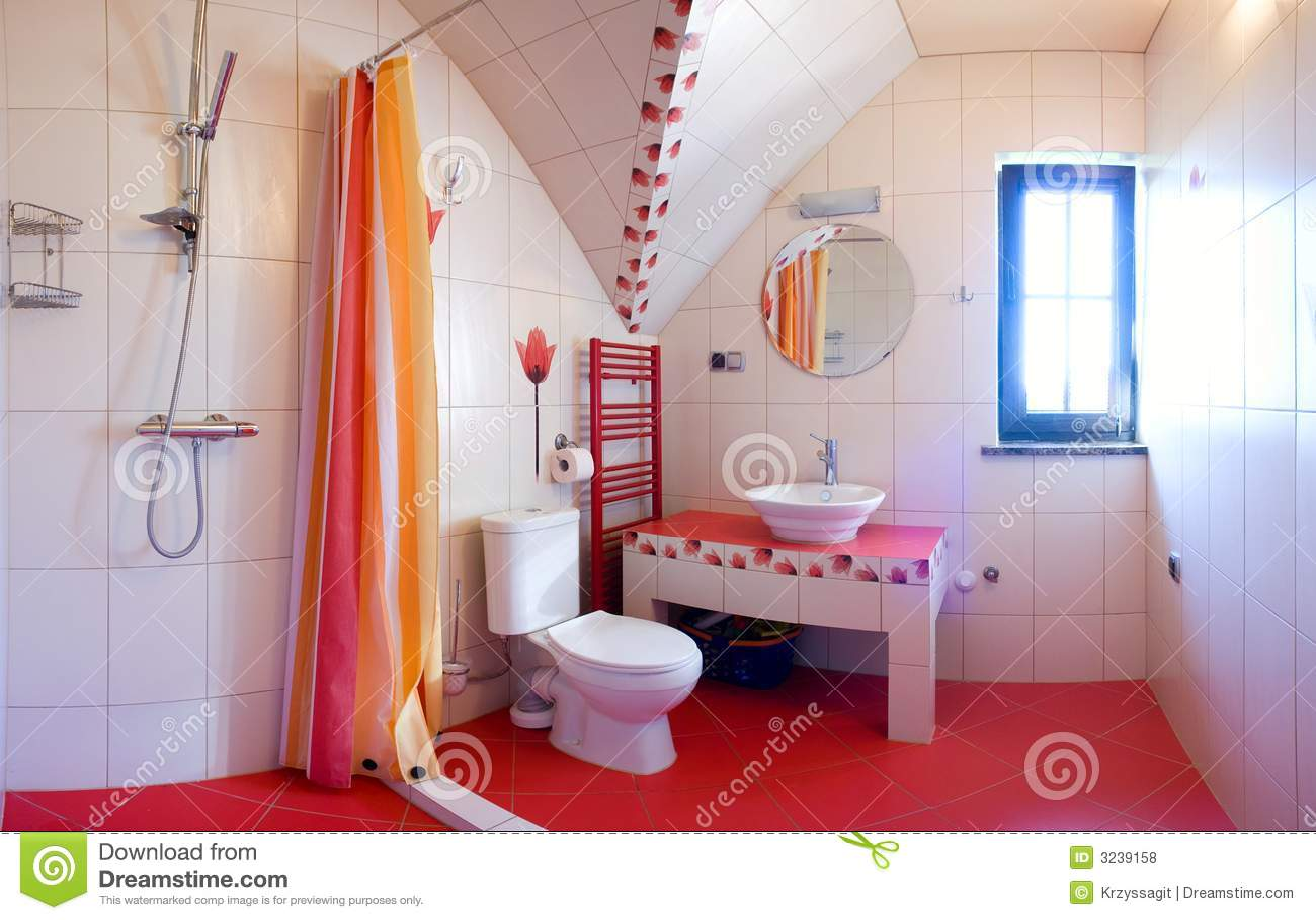Banheiro Vermelho Fotos de Stock Royalty Free Imagem: 3239158 #AE571D 1300x926 Acessorios Banheiro Vermelho