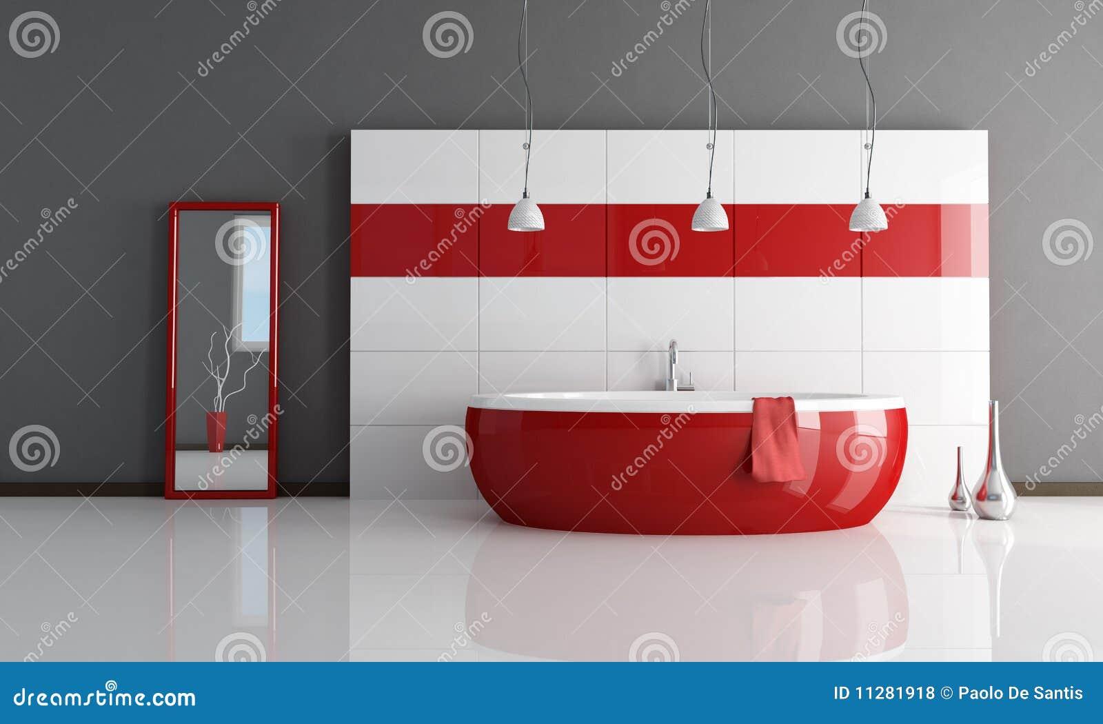 Banheiro Vermelho E Branco Da Forma Fotos de Stock Royalty Free  #87181B 1300x870 Banheiro Branco Com Detalhe Vermelho