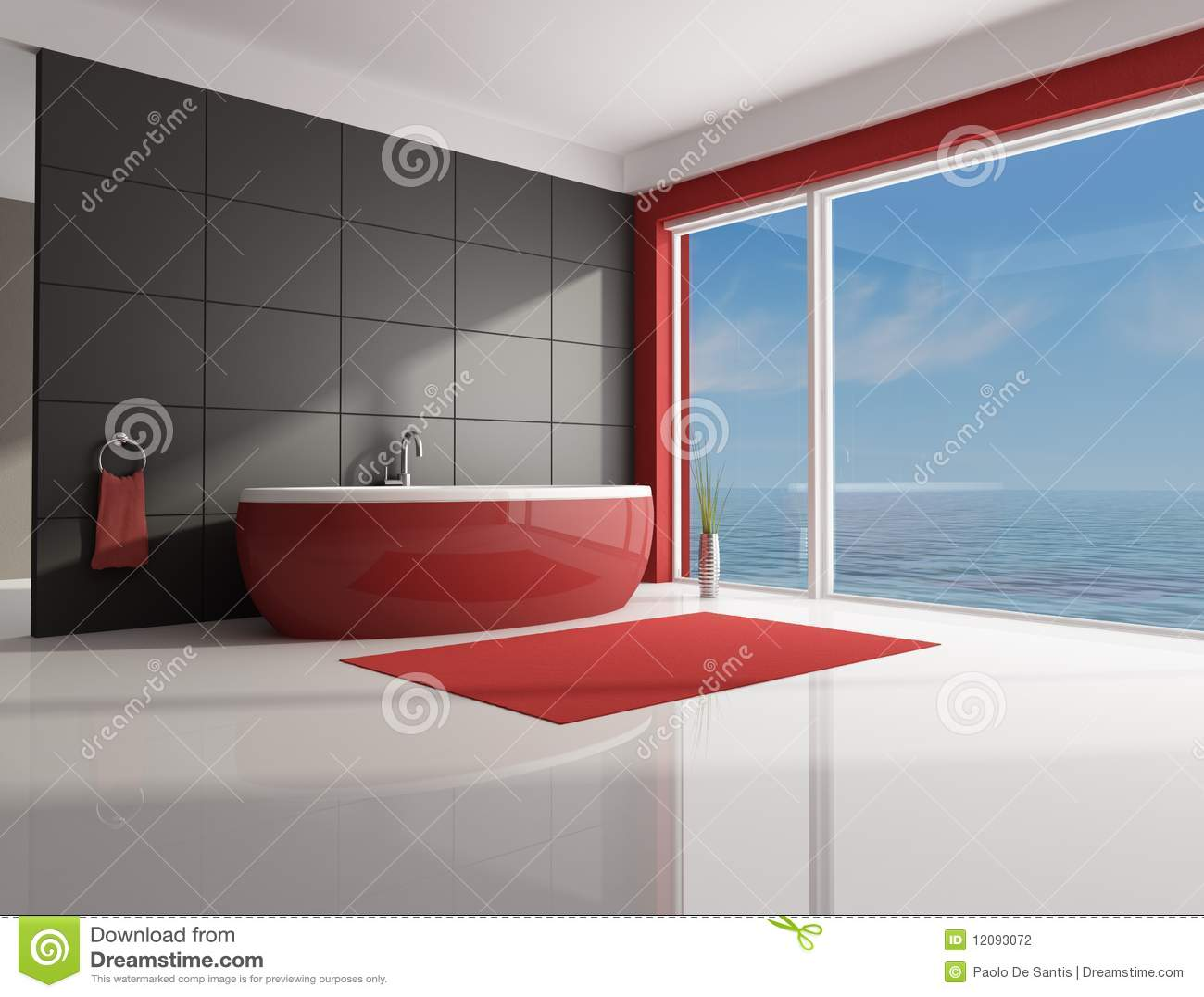 Banheiro Vermelho E Marrom Minimalista Fotografia de Stock Imagem  #973634 1300x1093 Banheiro Azul E Marrom