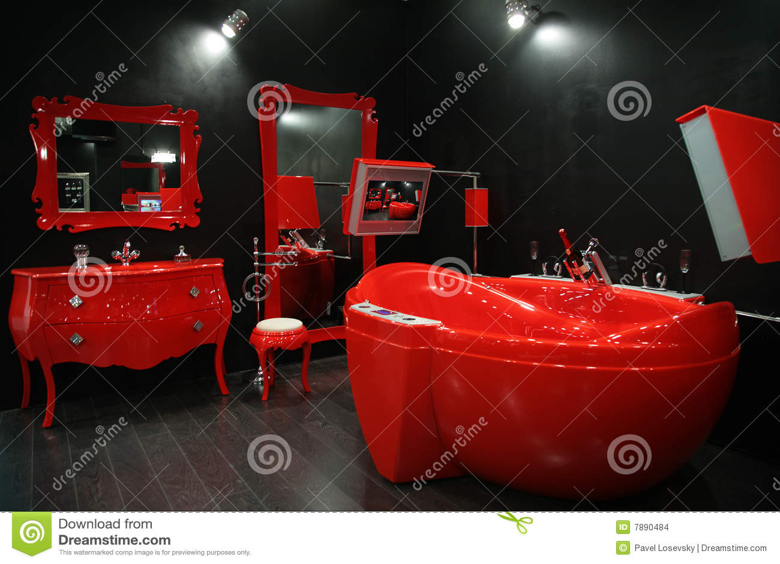 Imagens de Stock: Banheiro vermelho fresco #860F0B 1300 957