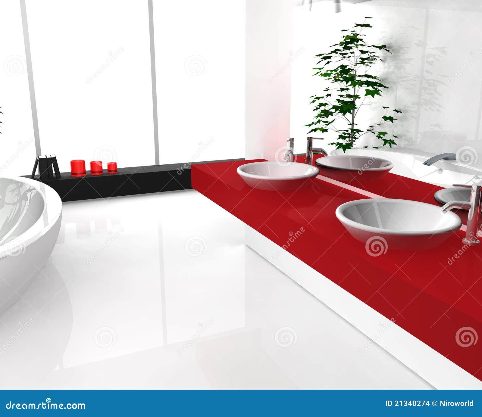 Banheiro Vermelho Luxuoso Imagens de Stock Imagem: 21340274 #9A161B 1300x1142 Banheiro Branco Com Detalhe Vermelho