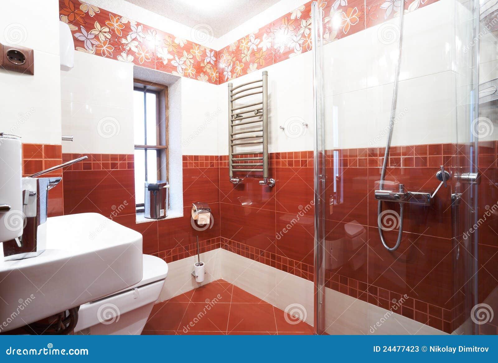 Fotos de Stock: Banheiro vermelho moderno #9D412E 1300 966