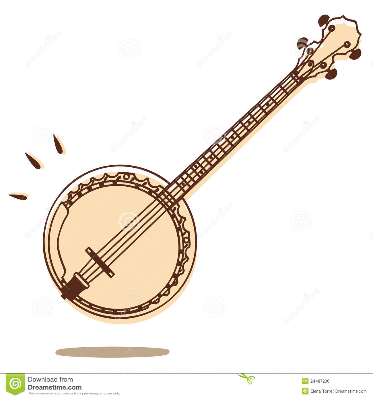 Illustrations of banjo isolated on white background + vector eps file.