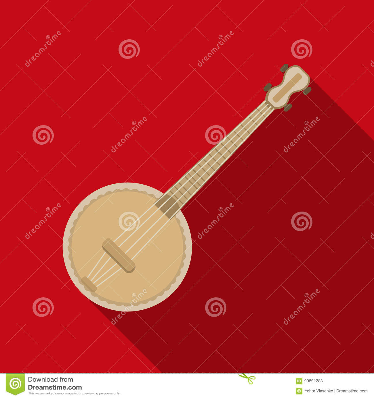 Banjo Icon In Flat Style Isolated On White Background Musical
