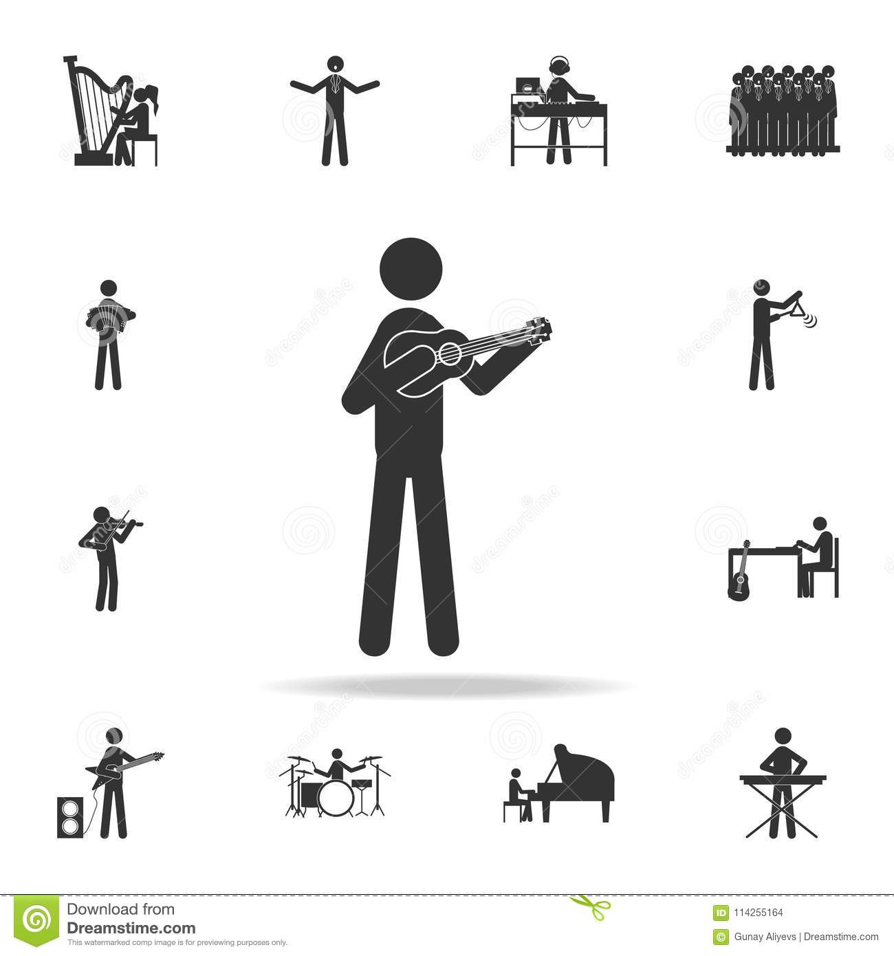 banjo player icon. Detailed set of music icons. Premium quality graphic design. One of the collection icons for websites; web desi