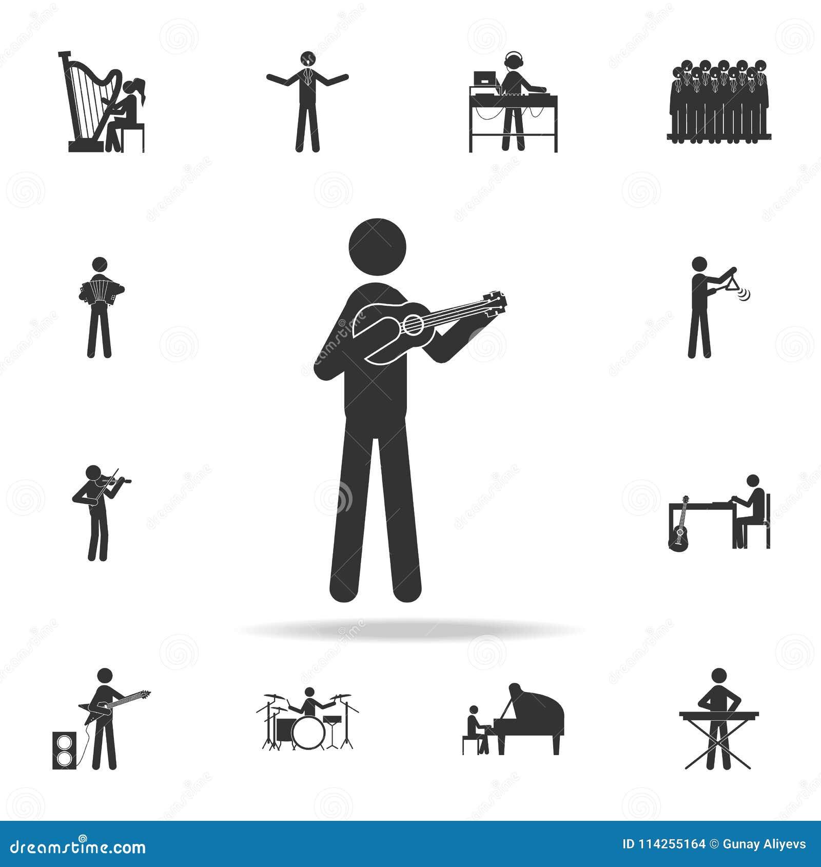 Banjospelaresymbol Detaljerad uppsättning av musiksymboler Högvärdig kvalitets- grafisk design En av samlingssymbolerna för websi