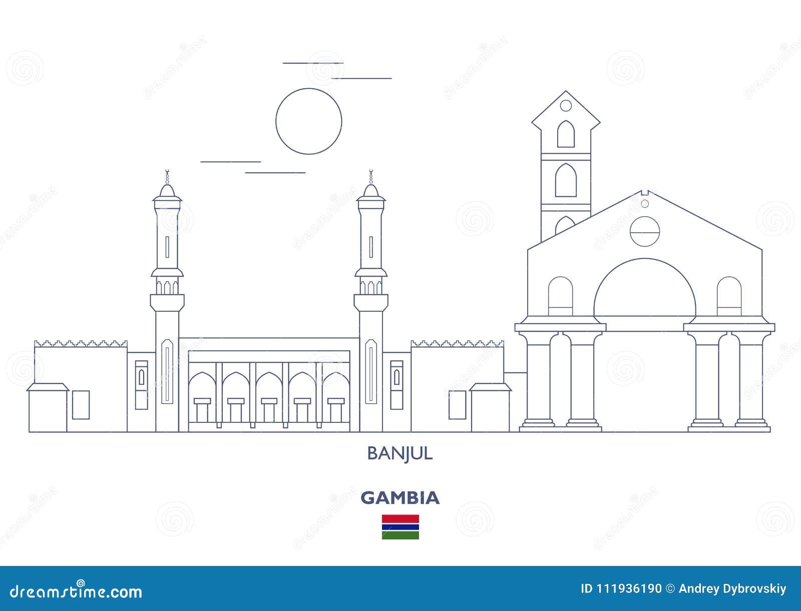 Banjul Stadt Skyline Gambia Vektor Abbildung Illustration Von Banjul Stadt 111936190