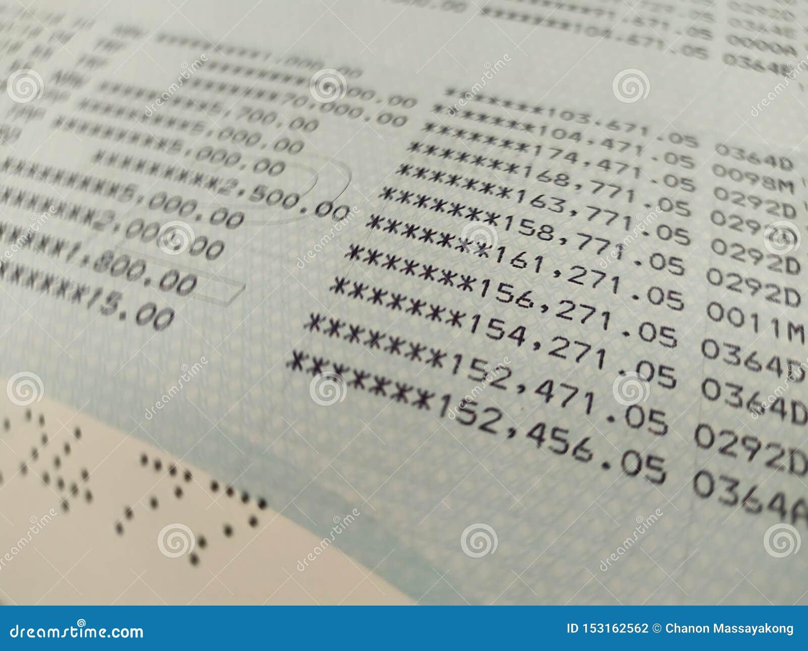 Bank account book close up selective focus