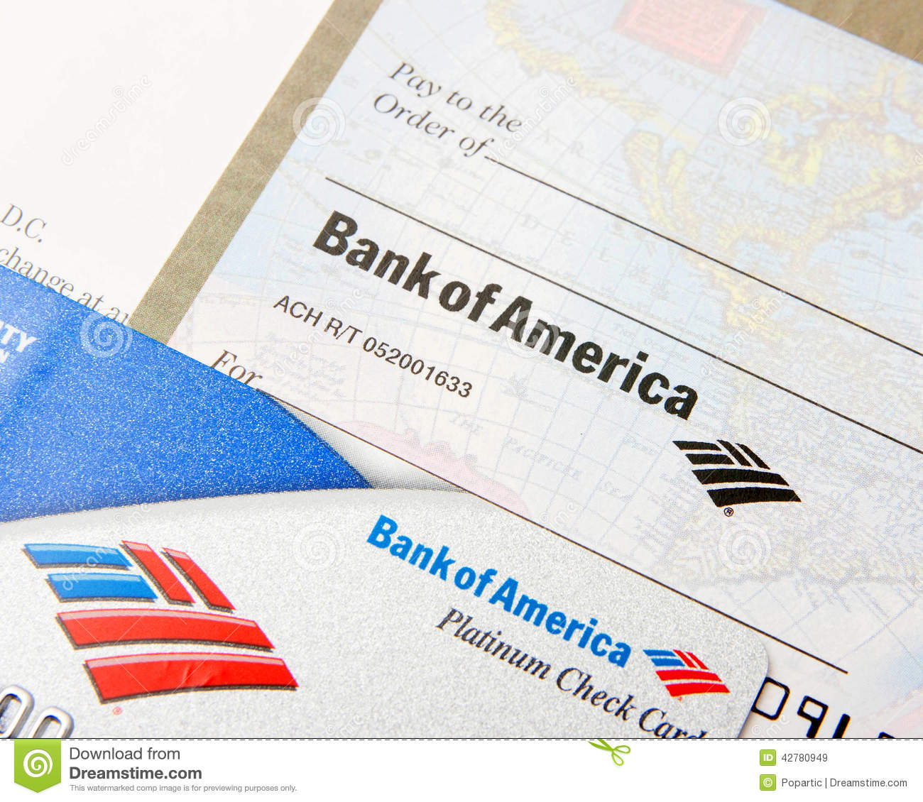 Bank Of America On A Debit Card And Check Editorial Stock