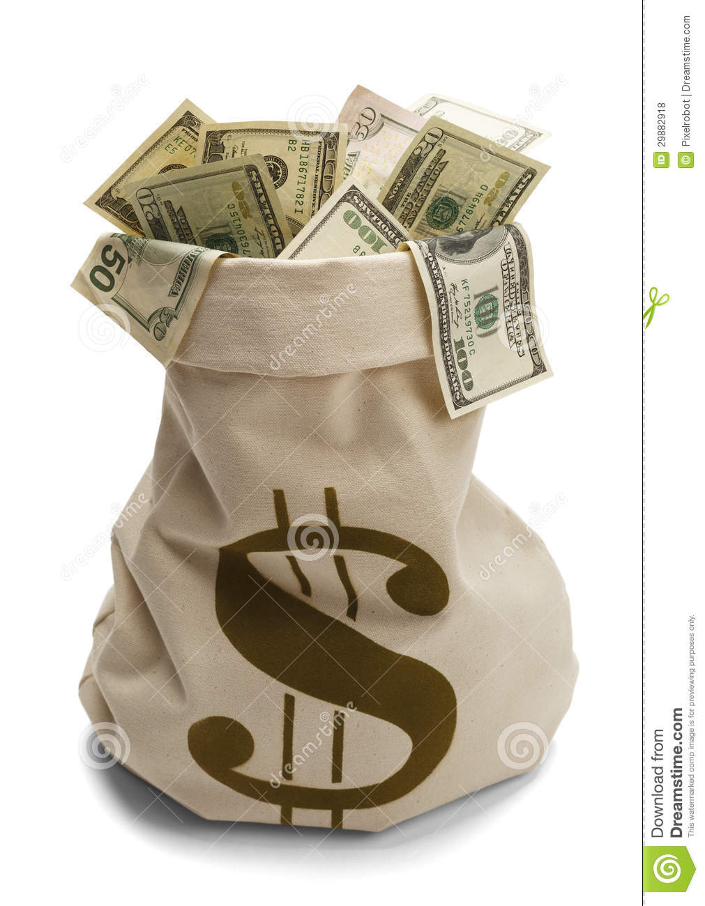 Bag full of us money with money symbol isolated on a white background