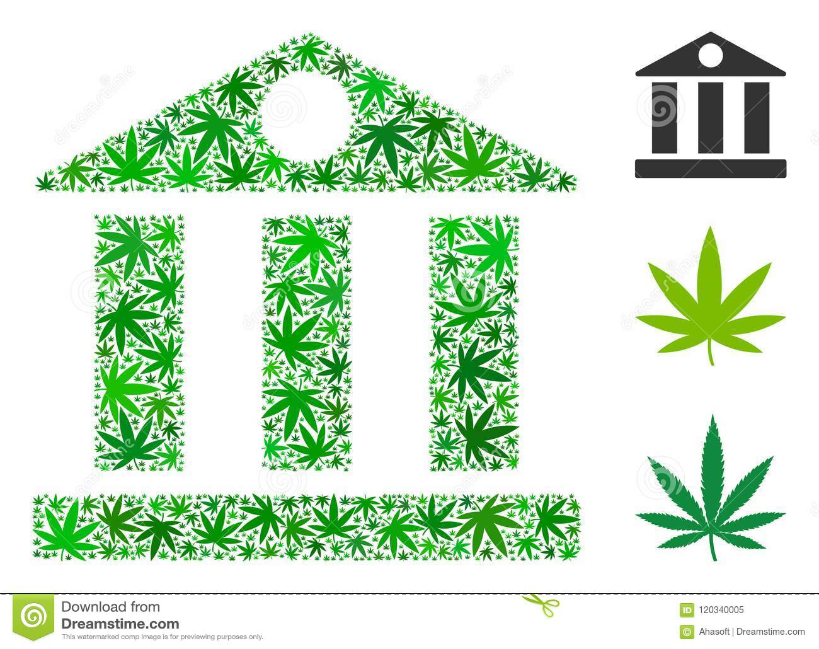 Bank Building Collage Of Marijuana Stock Vector Illustration Of