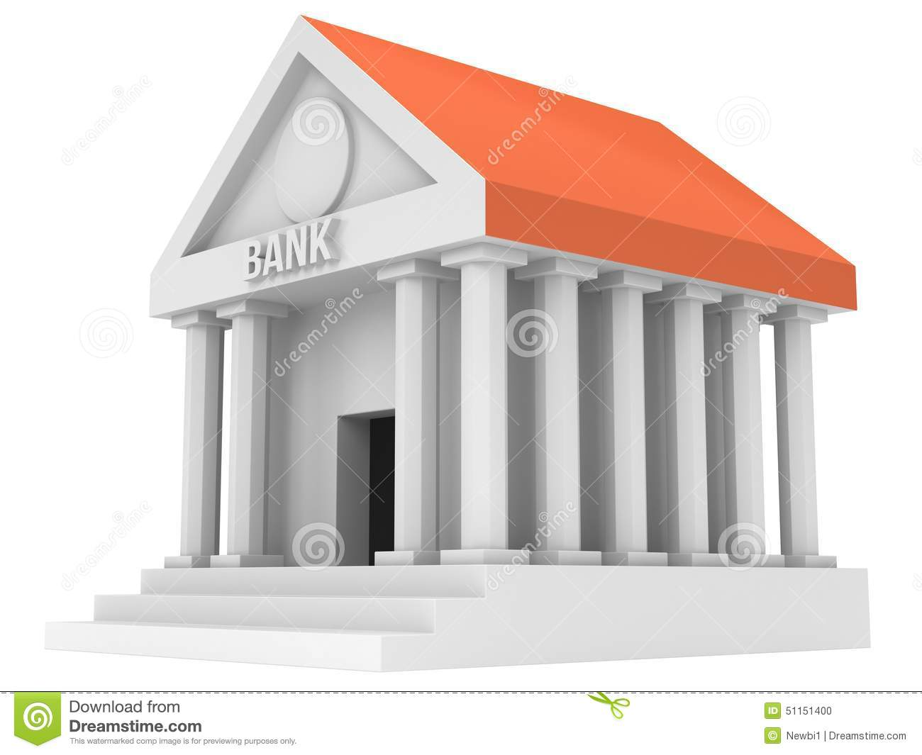 Bank Building 3d Icon Royalty Free Stock Image