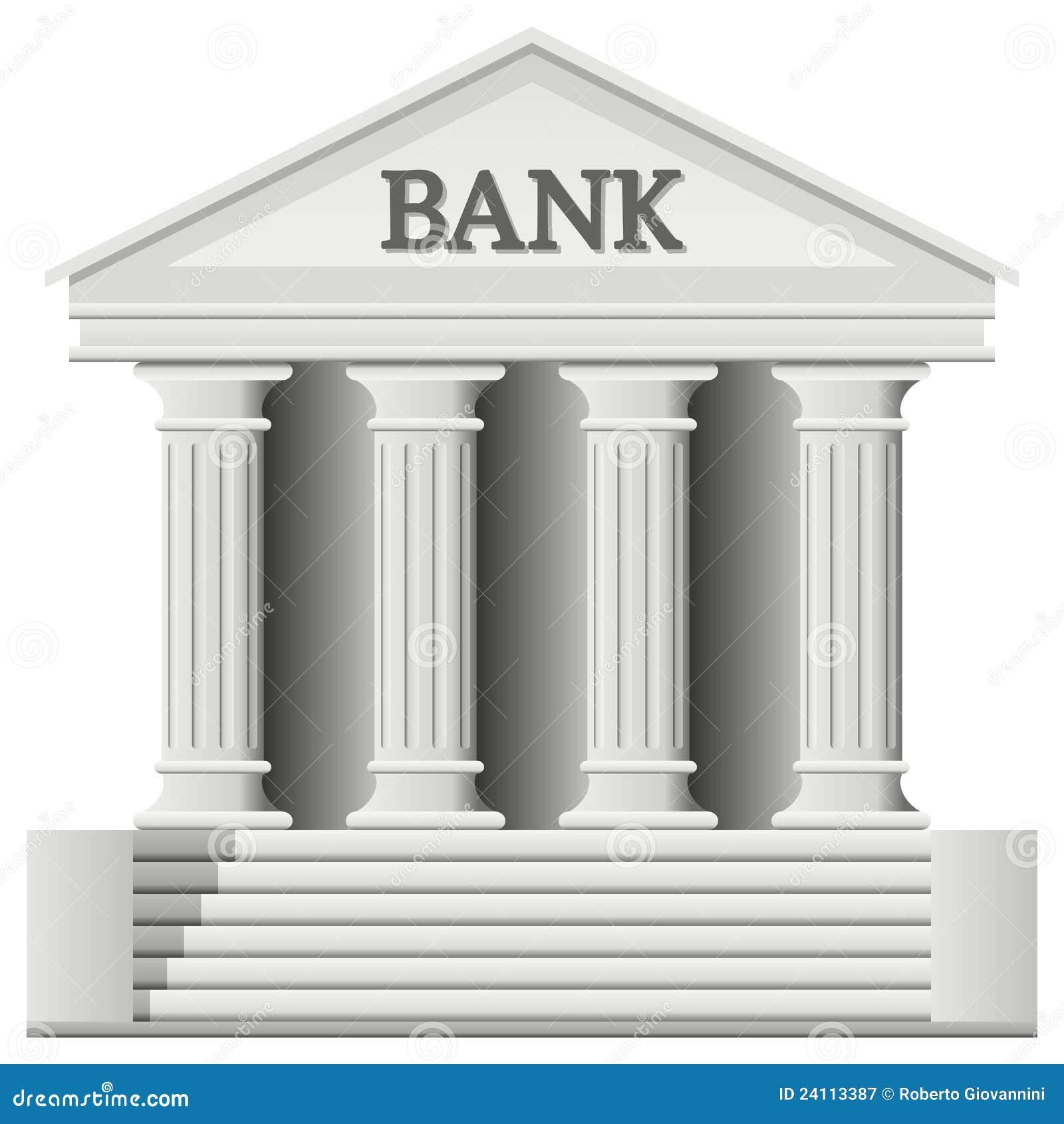 Bank Building Icon Cartoon Vector