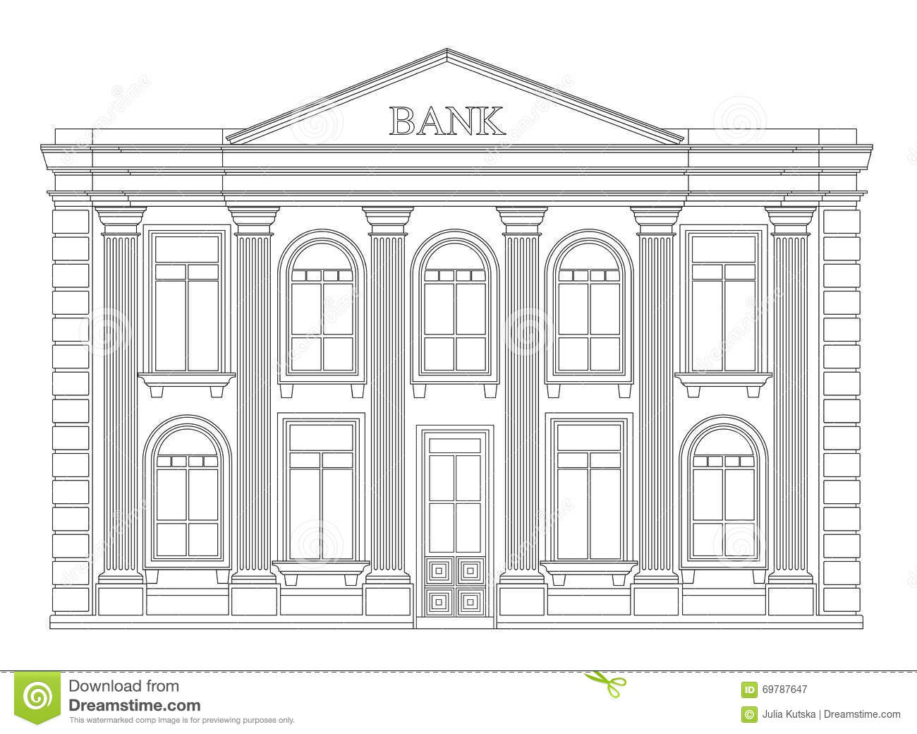 Bank Building Outline Icon Isolated Elegant Thin Line