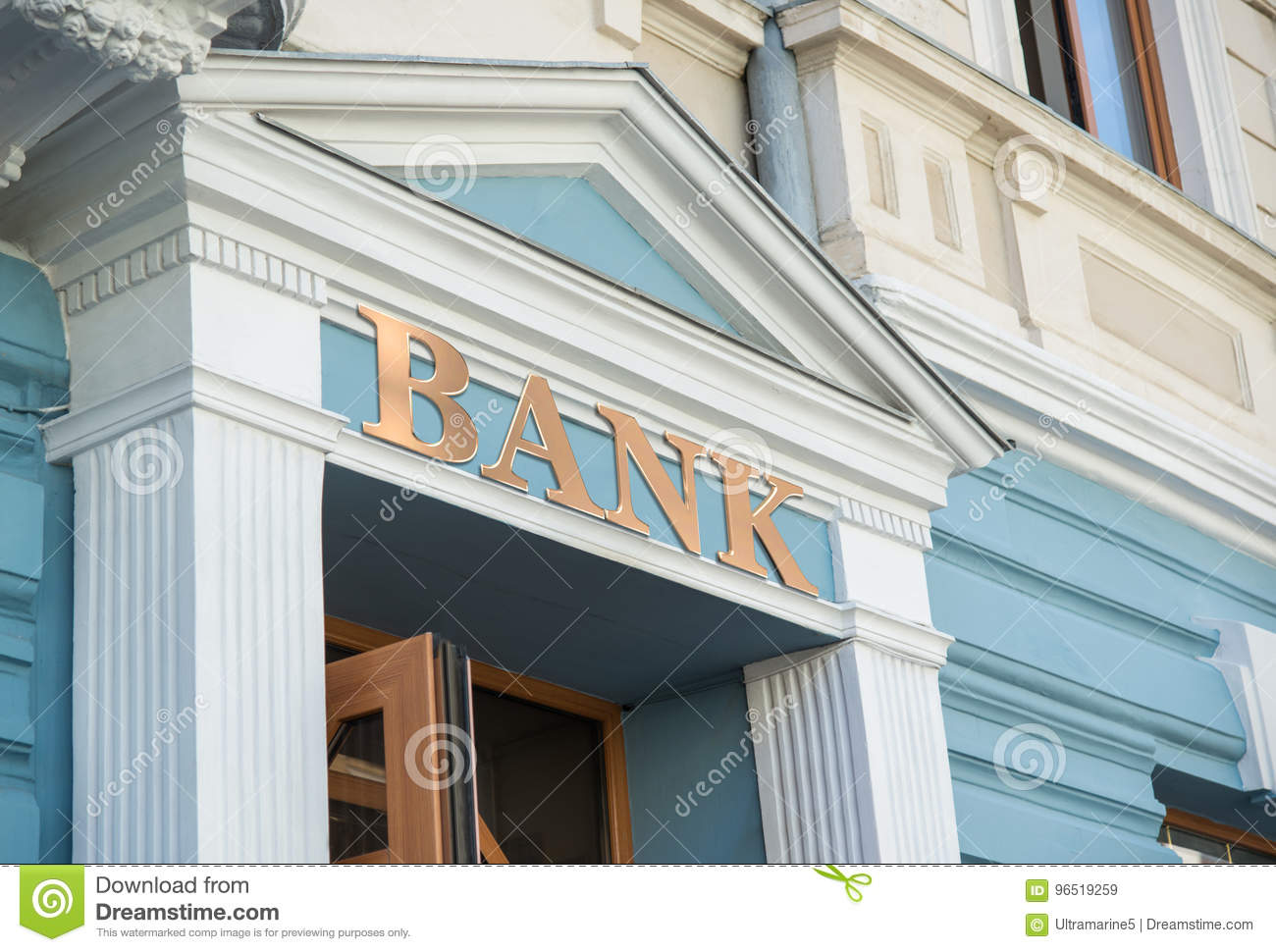 Bank building with sign