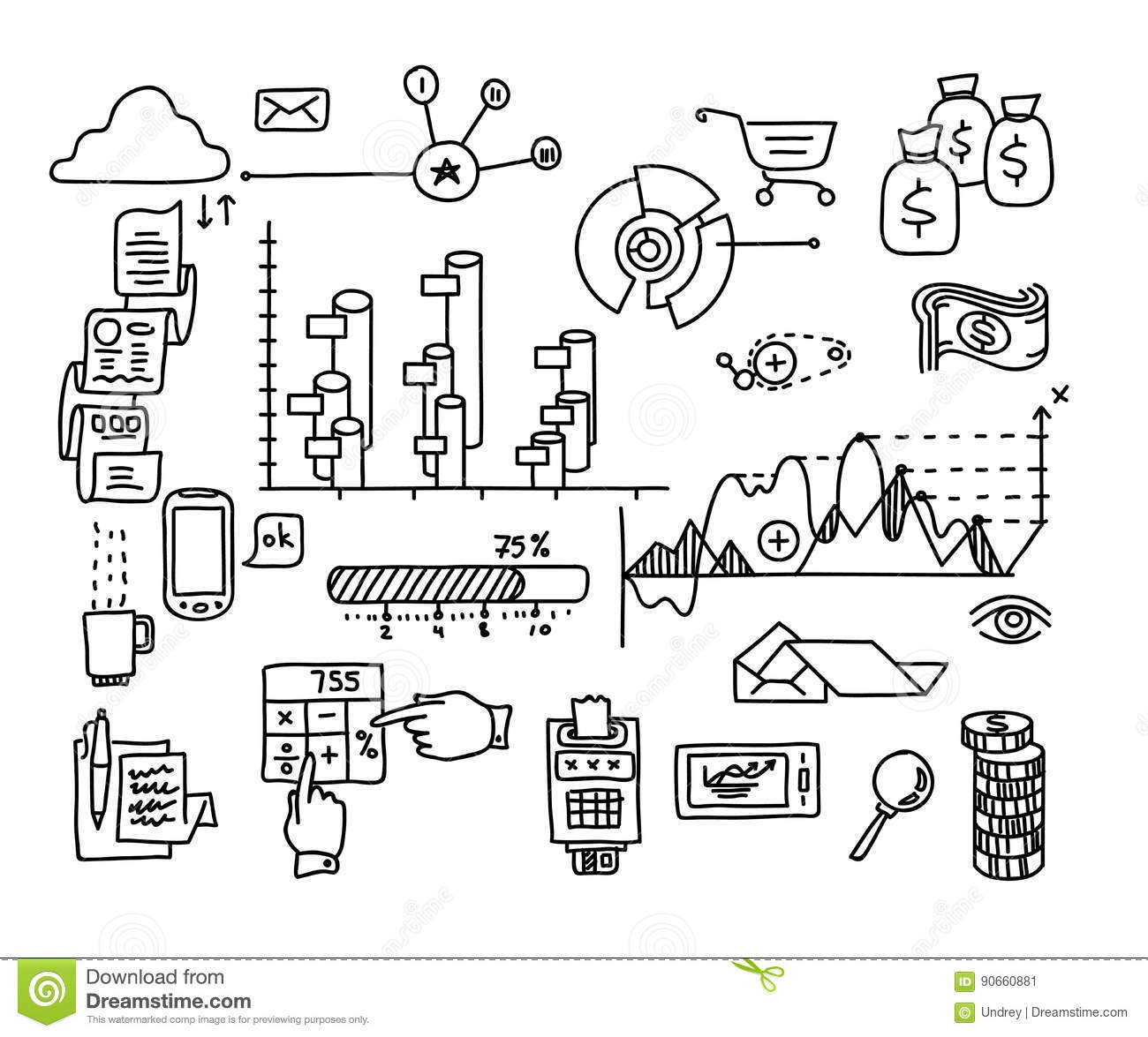 Bank Business Finance Analytics Earnings Hand Draw Doodle Elements
