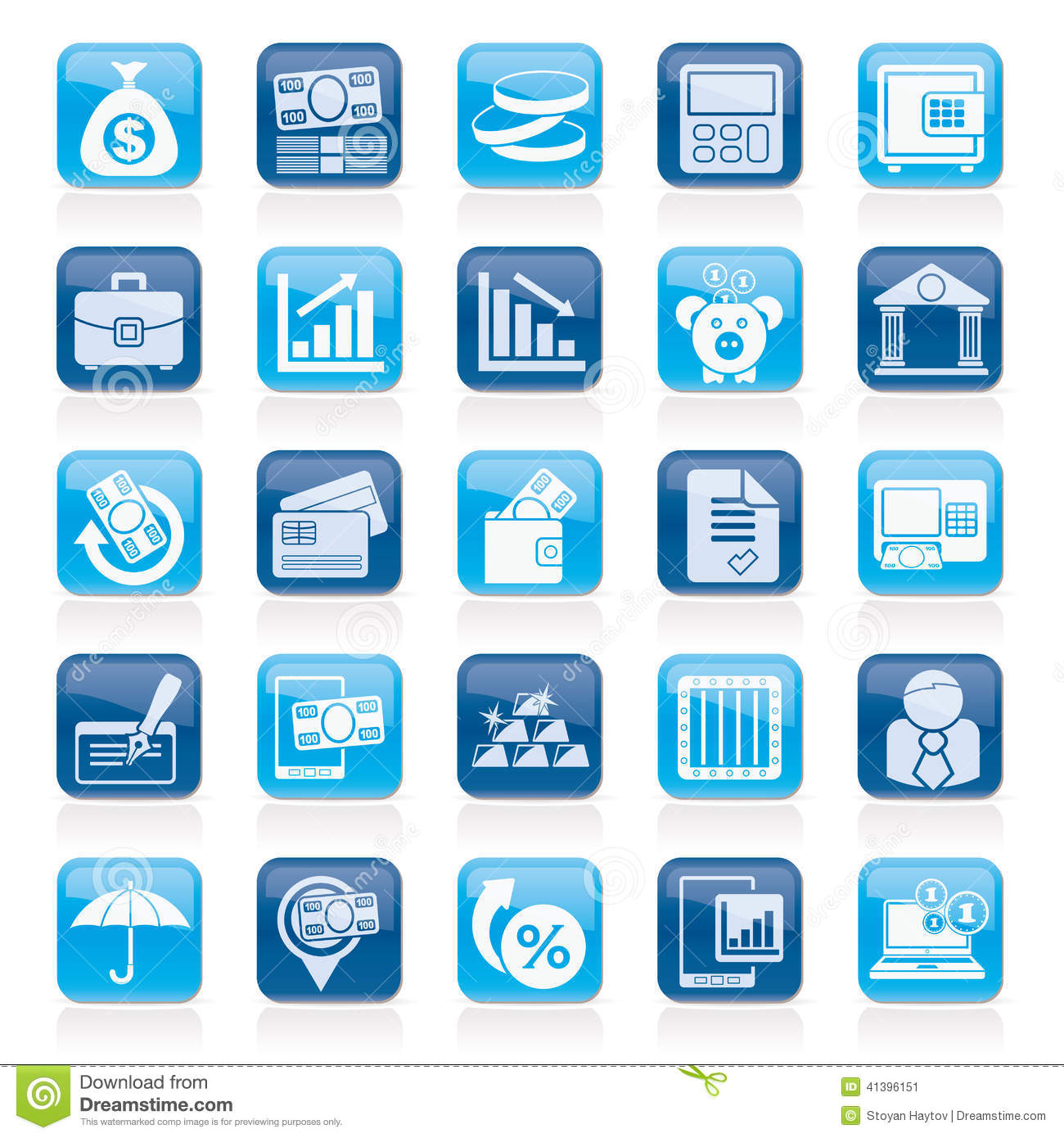 Finance Icon Set: Bank, Business And Finance Icons Stock Vector