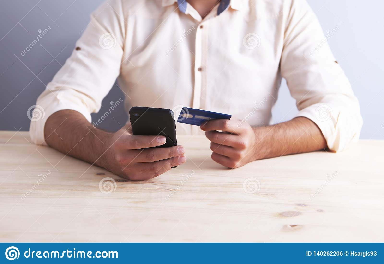 Bank card businessman phone