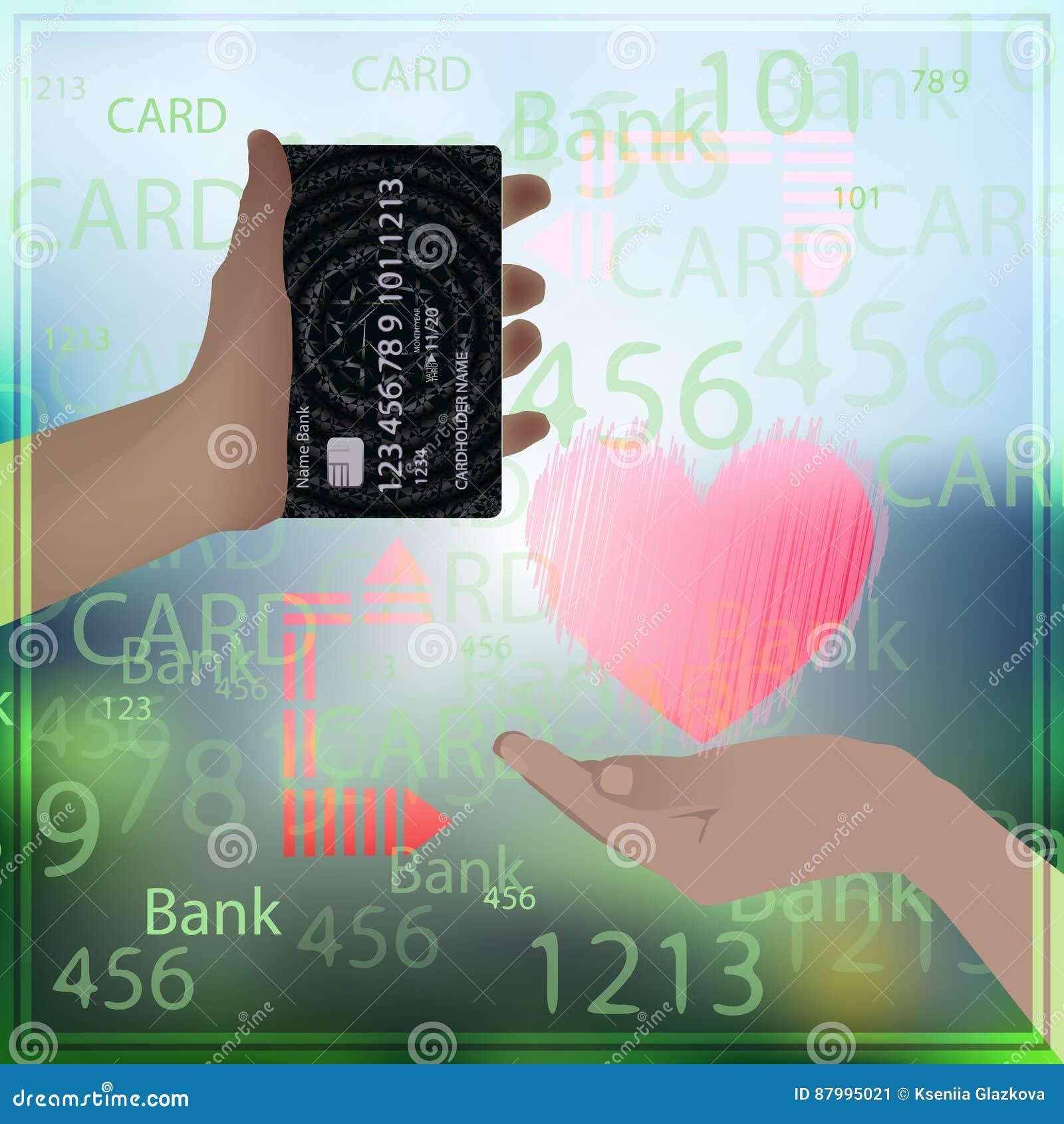 Design Bank Sale.Bank Card Sale Love Prostitution Heart Photo Background Stock