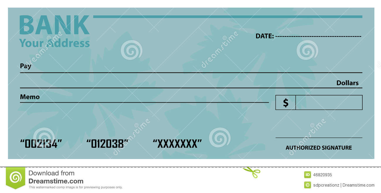 bank check cheque template stock vector illustration of border