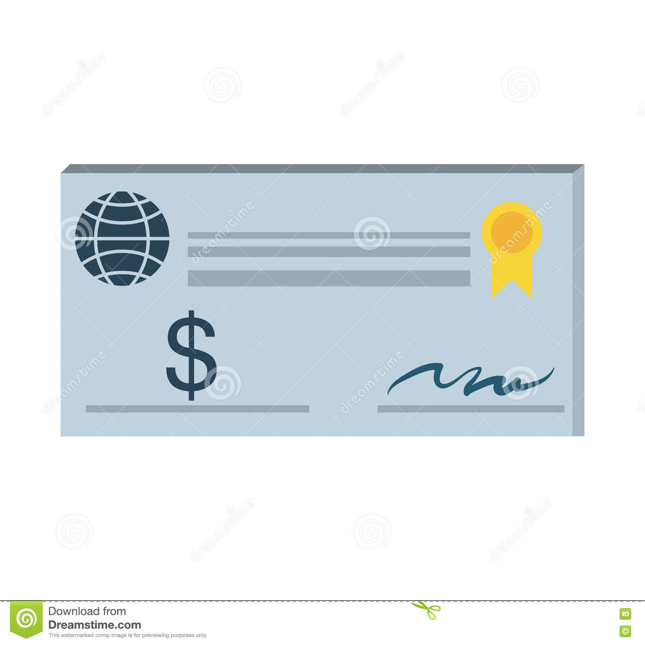 Bank Check Paper Isolated Icon Stock Vector Illustration Of