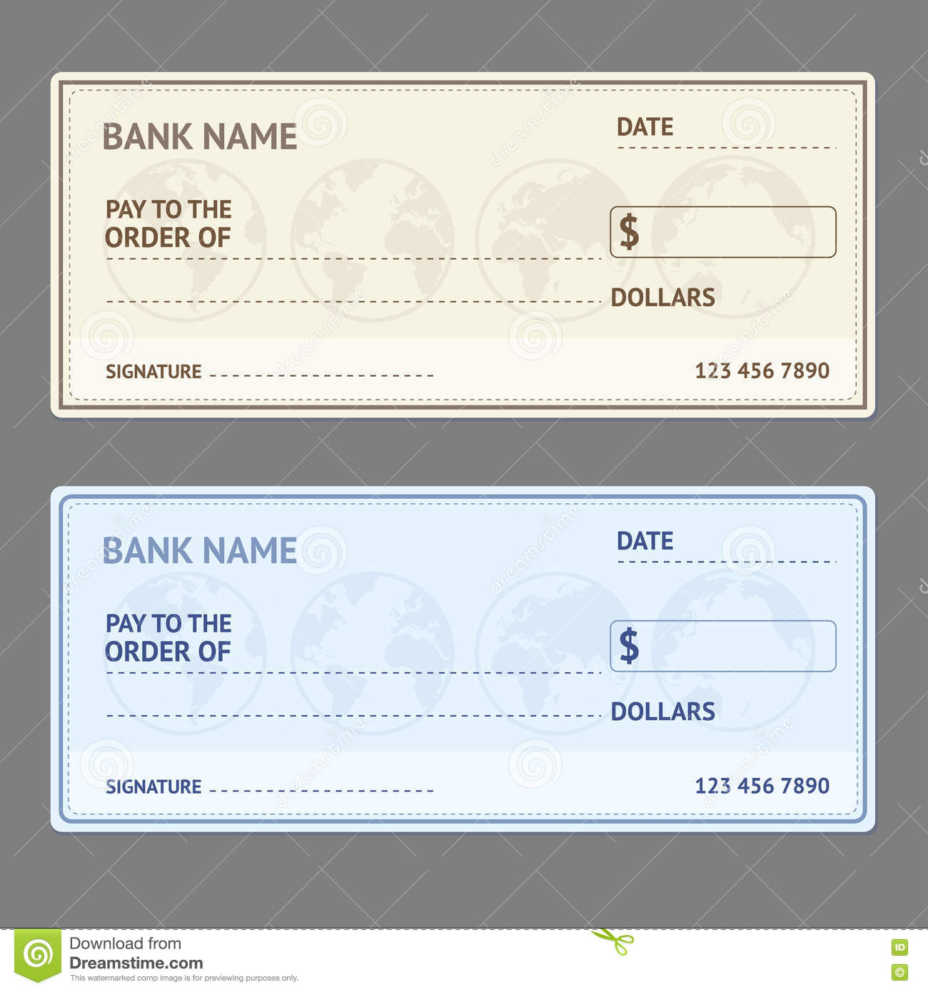 bank check template set vector stock vector illustration of
