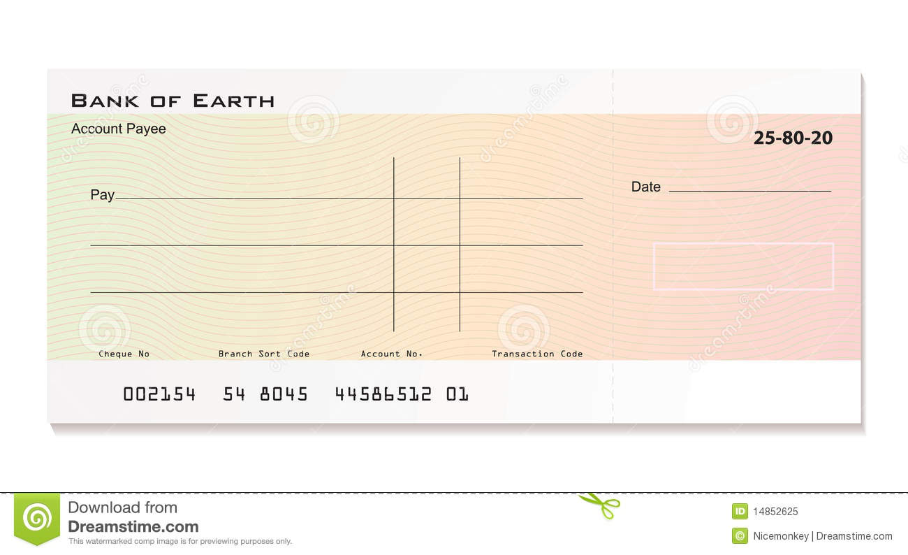 Illustrated bank cheque with room for your own details.