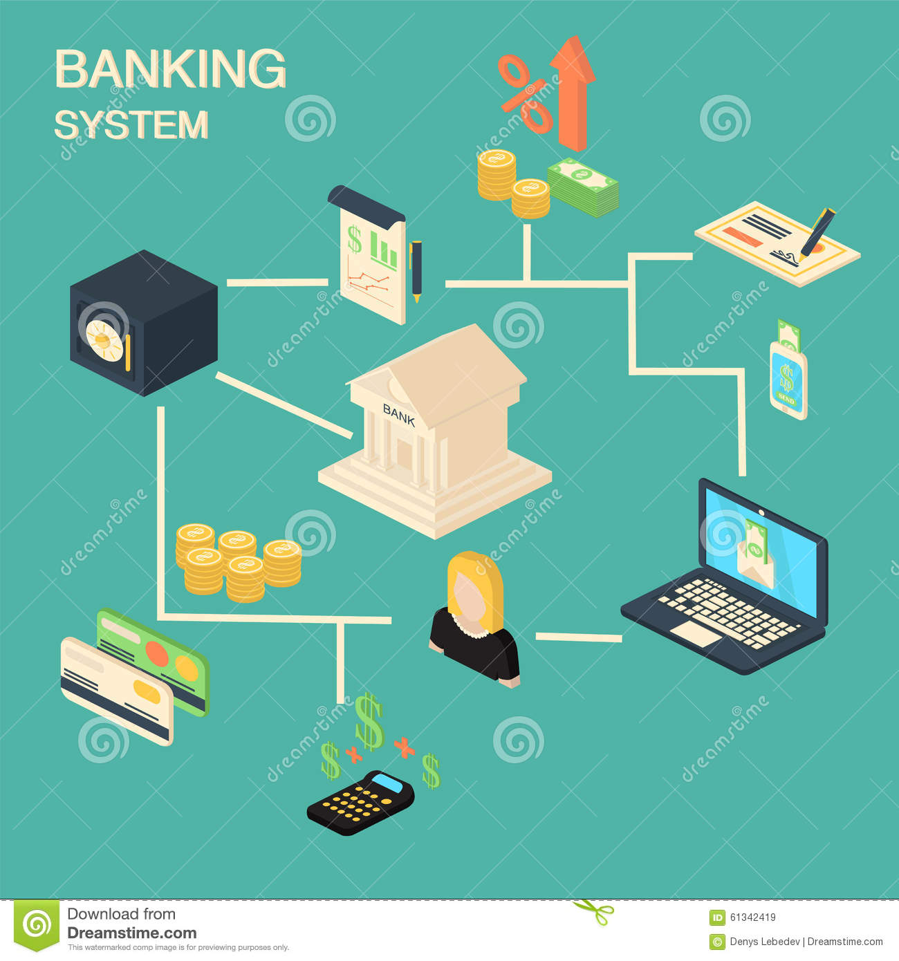 Finance Background: Bank Concept With Isometric Financial And Investment Icons