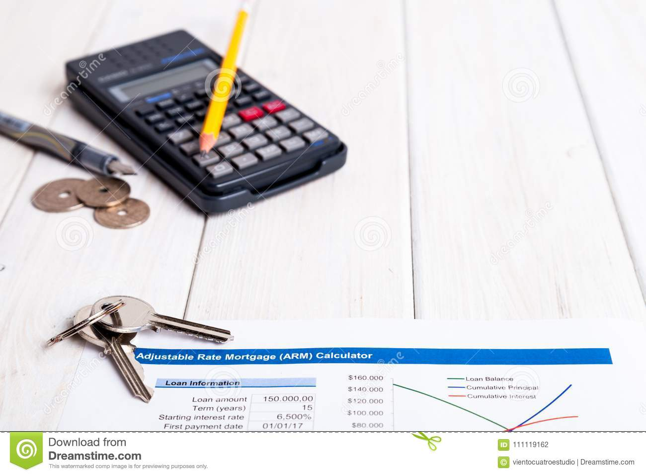 Bank Contract Over White Wood With Calculator And Pencil