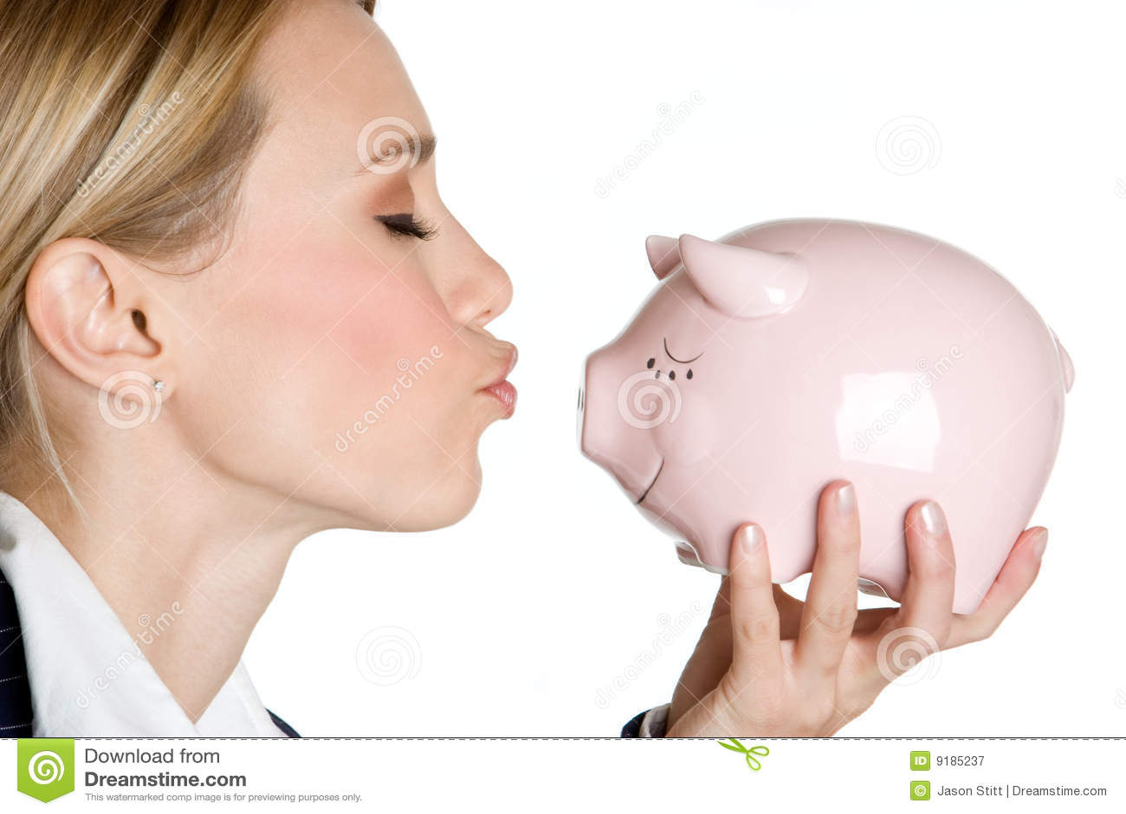 Bank den kyssande piggy kvinnan