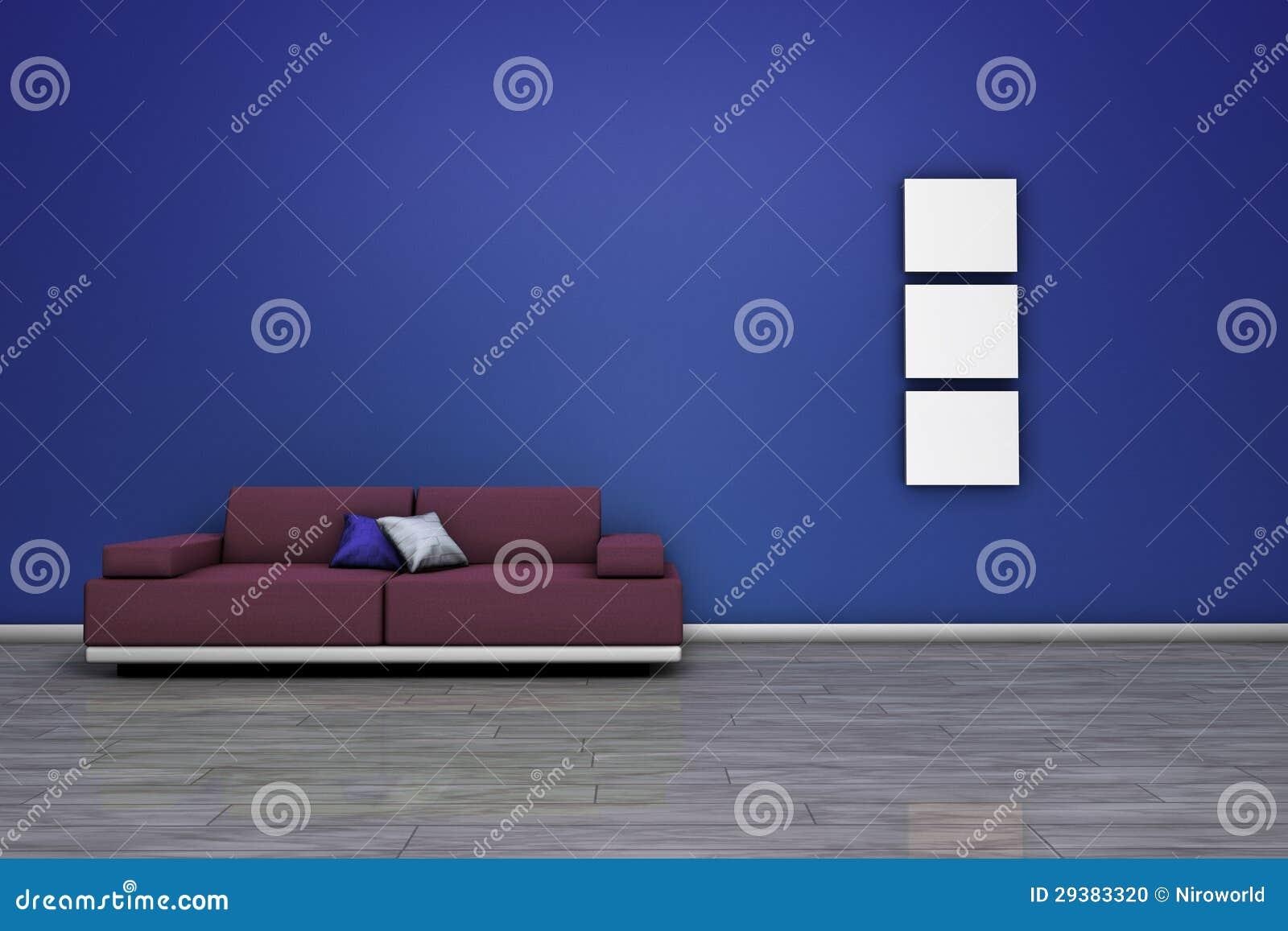 Bank En Blauwe Lege Muur Stock Foto   Afbeelding  29383320