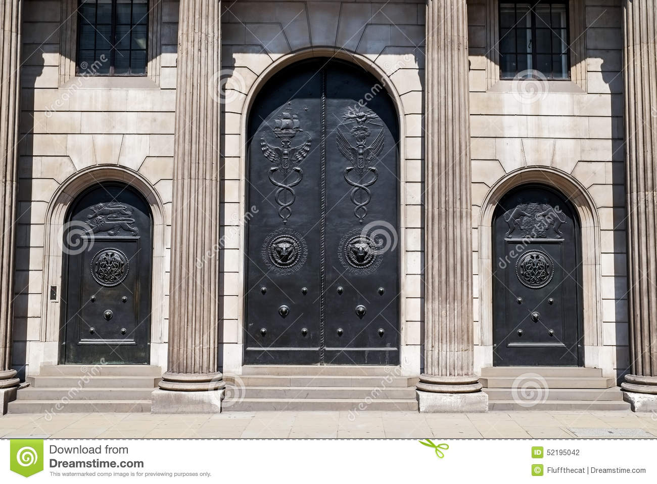 bank of england main doors and entrance editorial photography