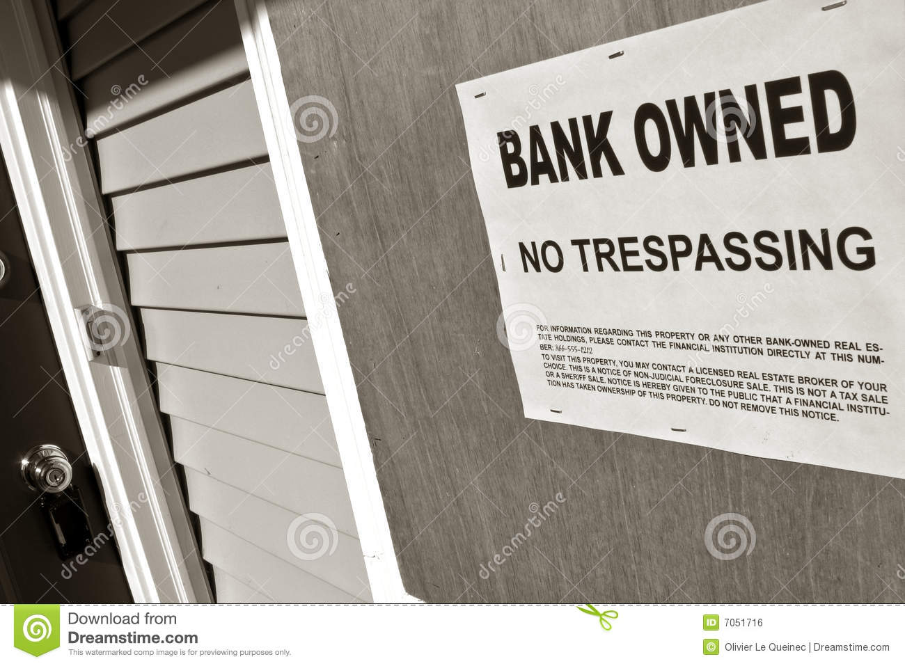 Bank estate foreclosure house owned real sign