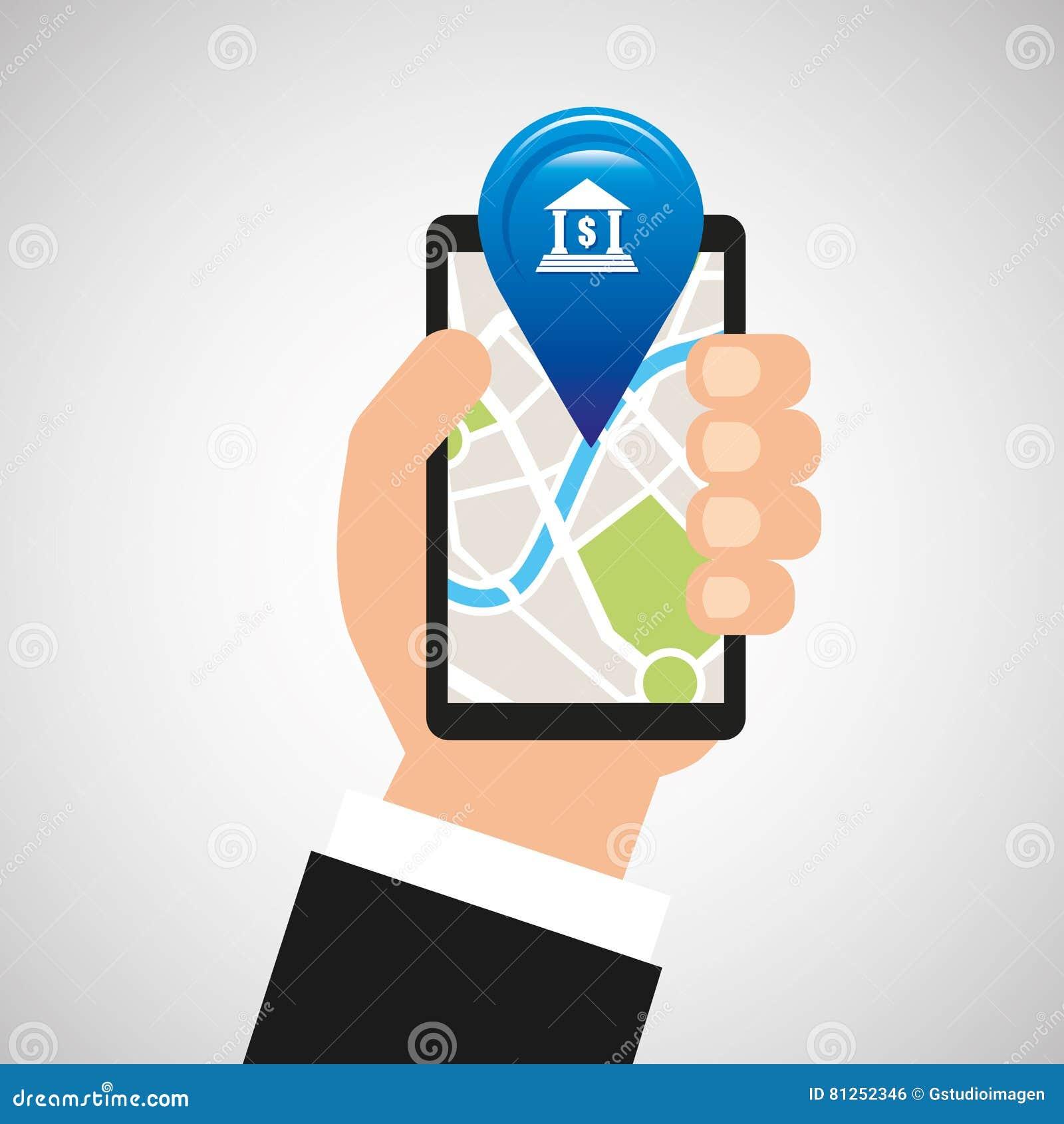 Bank för app för navigering för handhålltelefon