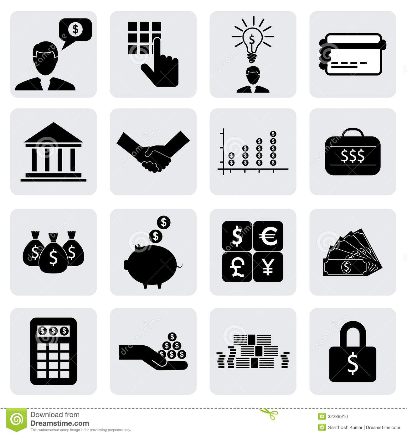 Bank & finance icons(signs) related to money, wealth