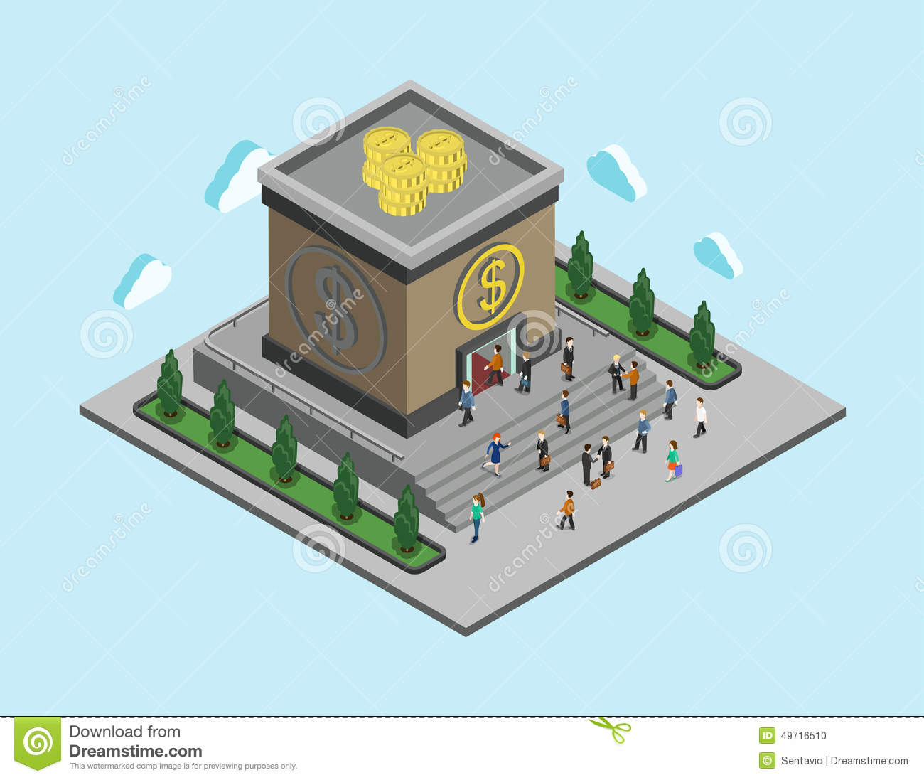Bank finance money flat 3d web isometric infographic for How to get a building loan