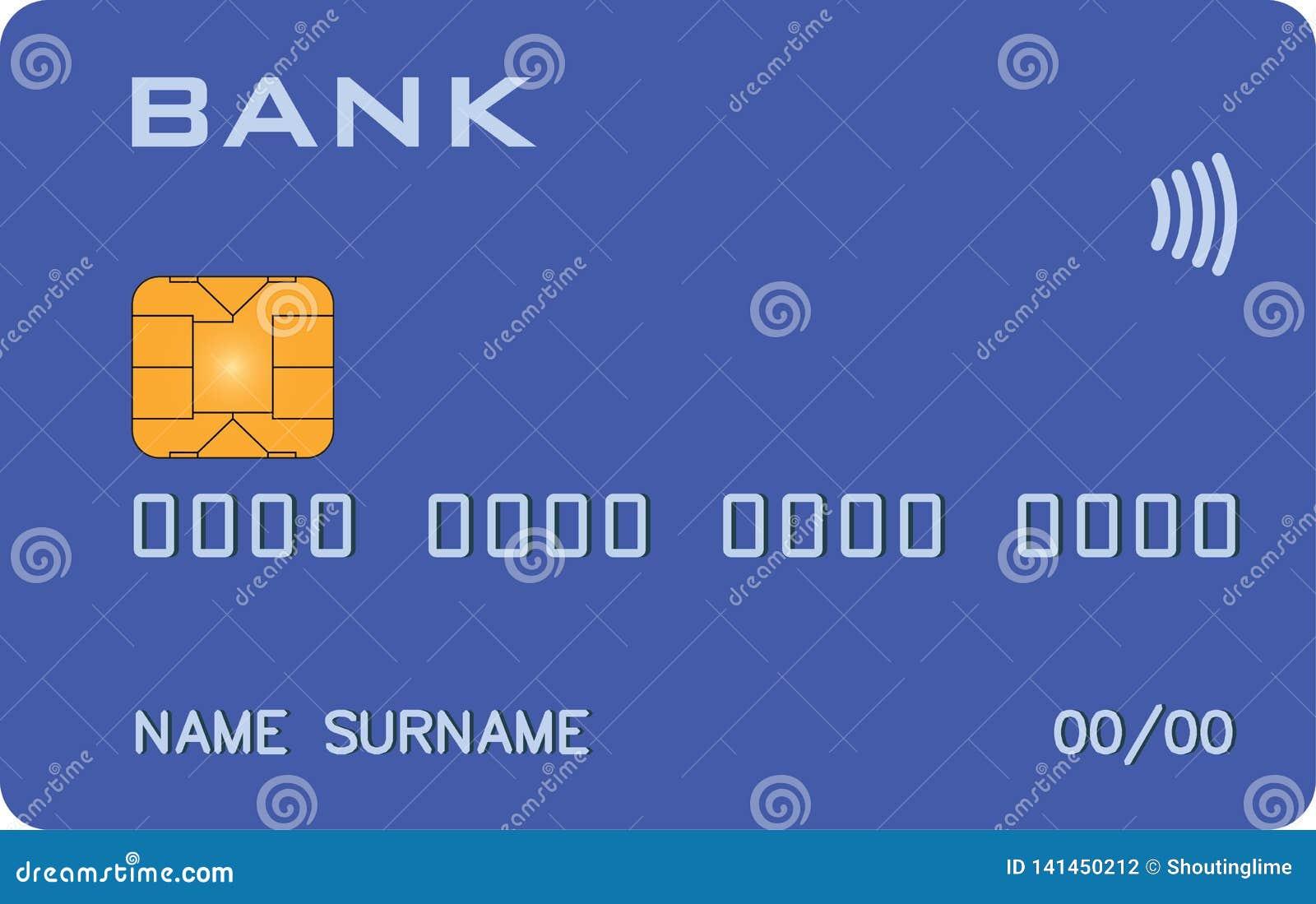 Bank karta z PayWave PayPass błękita pierwowzorem