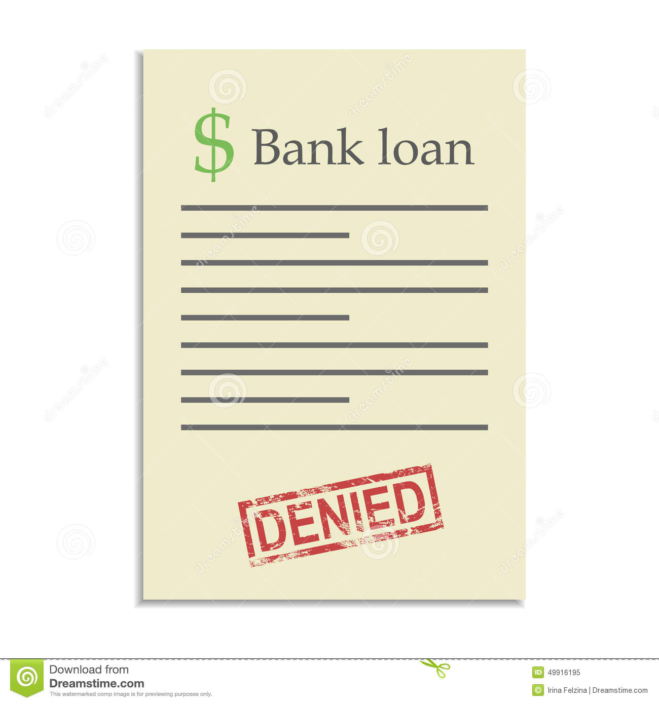 Bank Loan Document With Denied Stamp  Loan Document