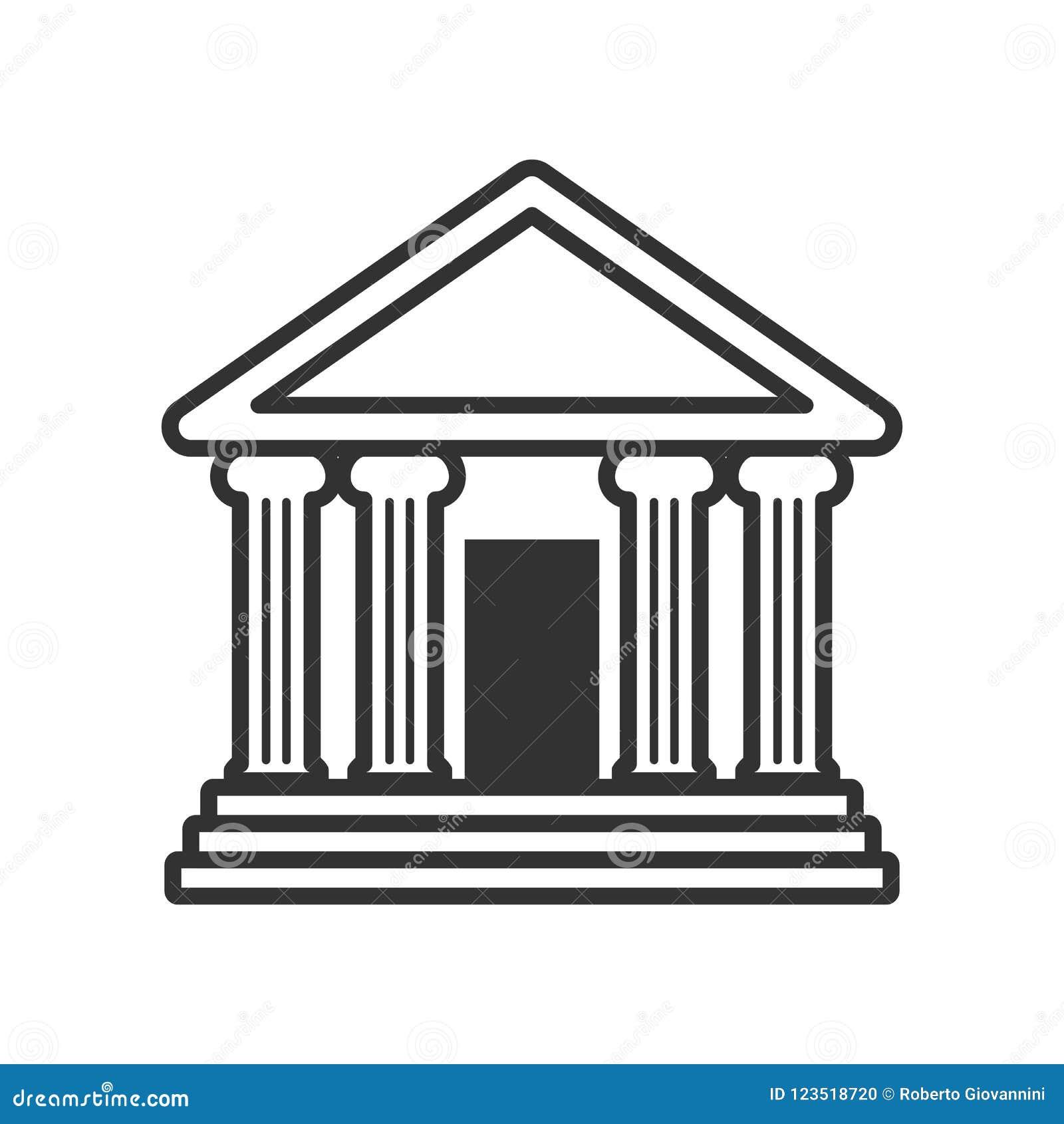 Bank oder Tempel mit Spalten-Entwurfs-Ikone