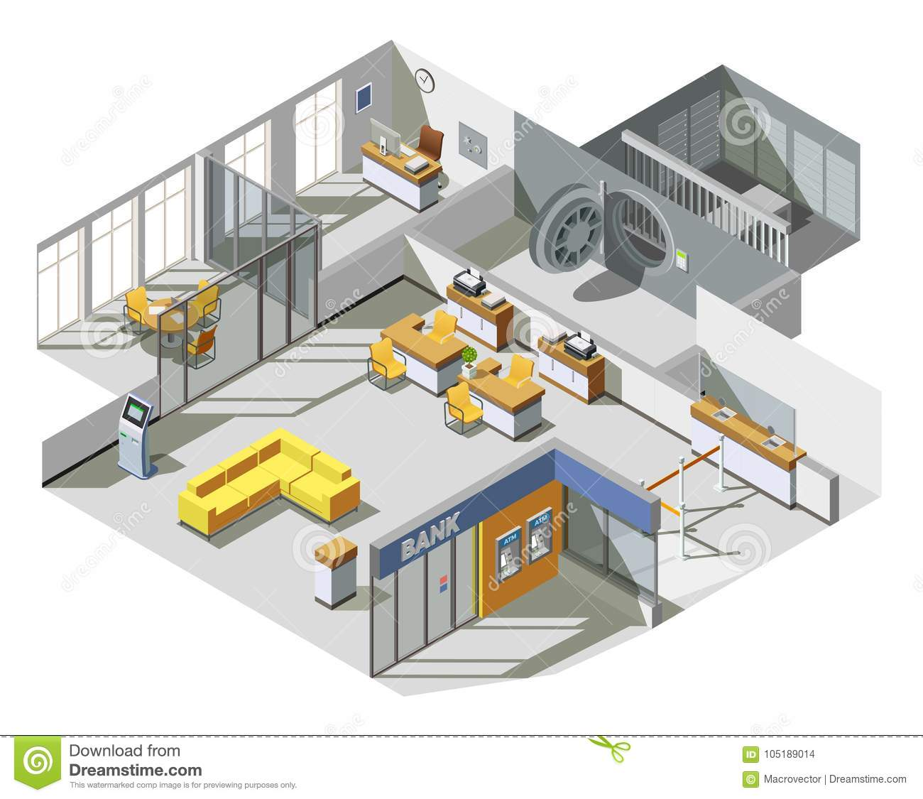 Bank Office Interior Isometric Composition Stock Vector Illustration Of Area Analyst 105189014