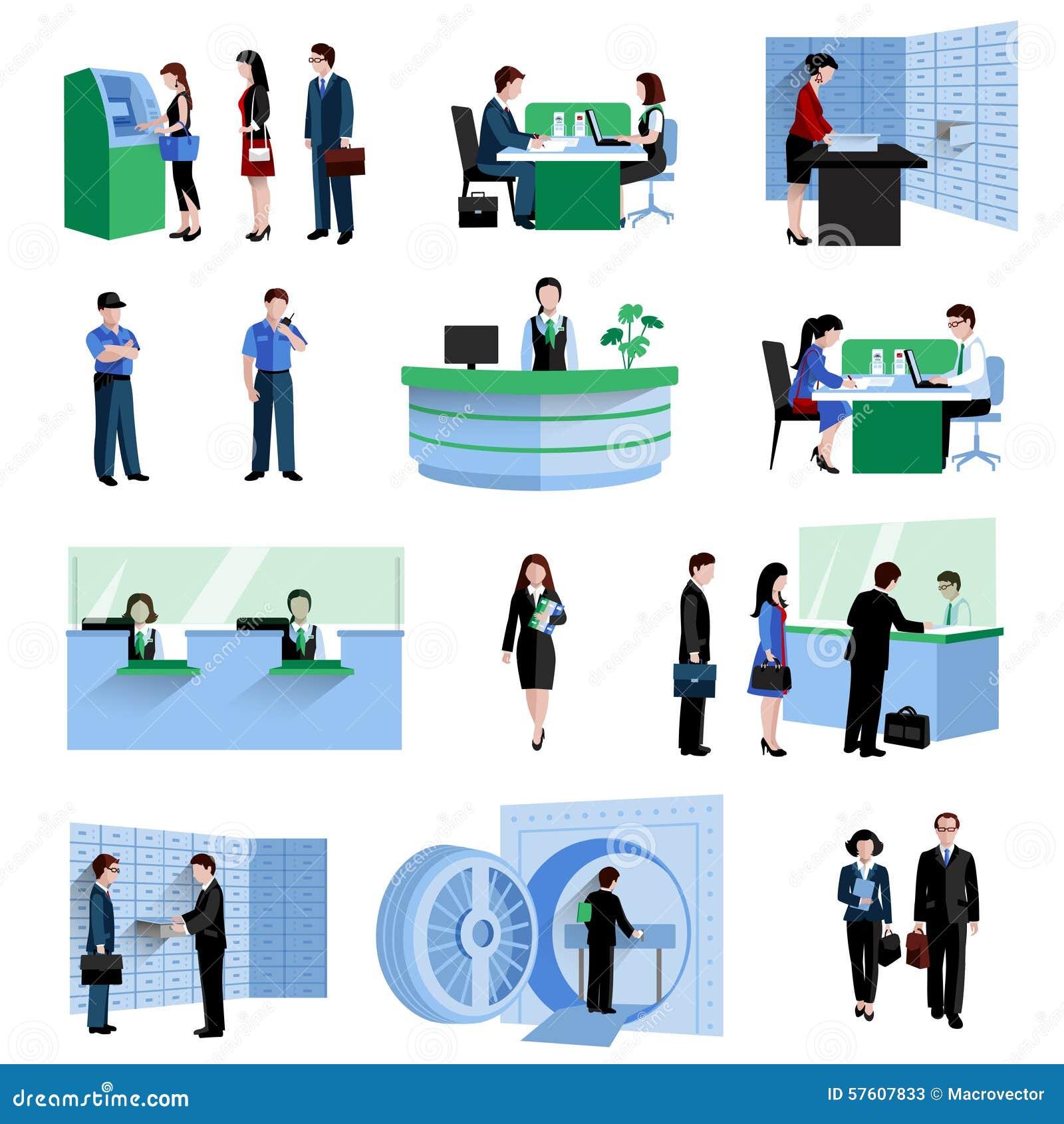 Bank People Set Stock Vector Image 57607833